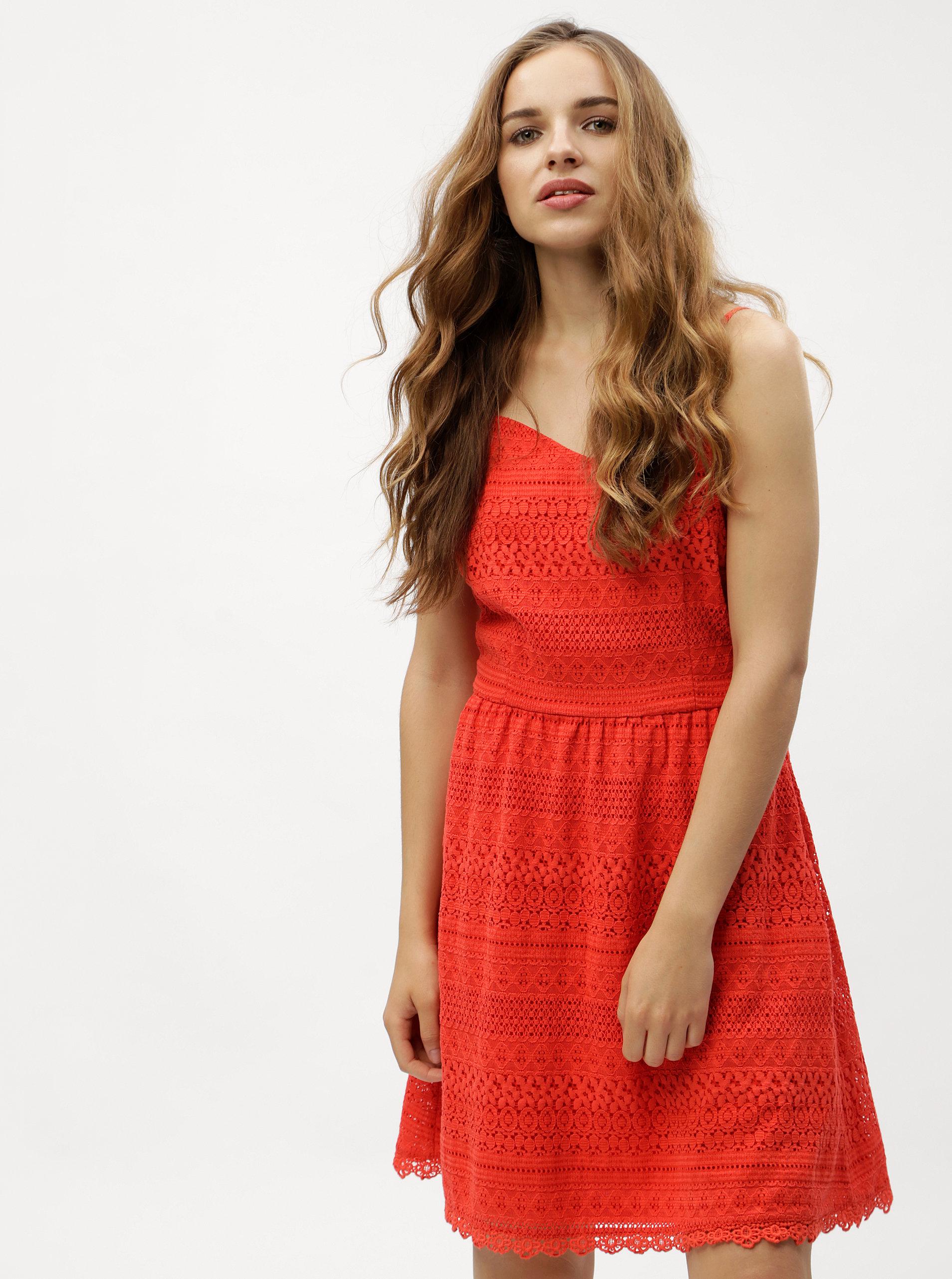 Červené krajkové šaty VERO MODA Honey ... a5532ab36d