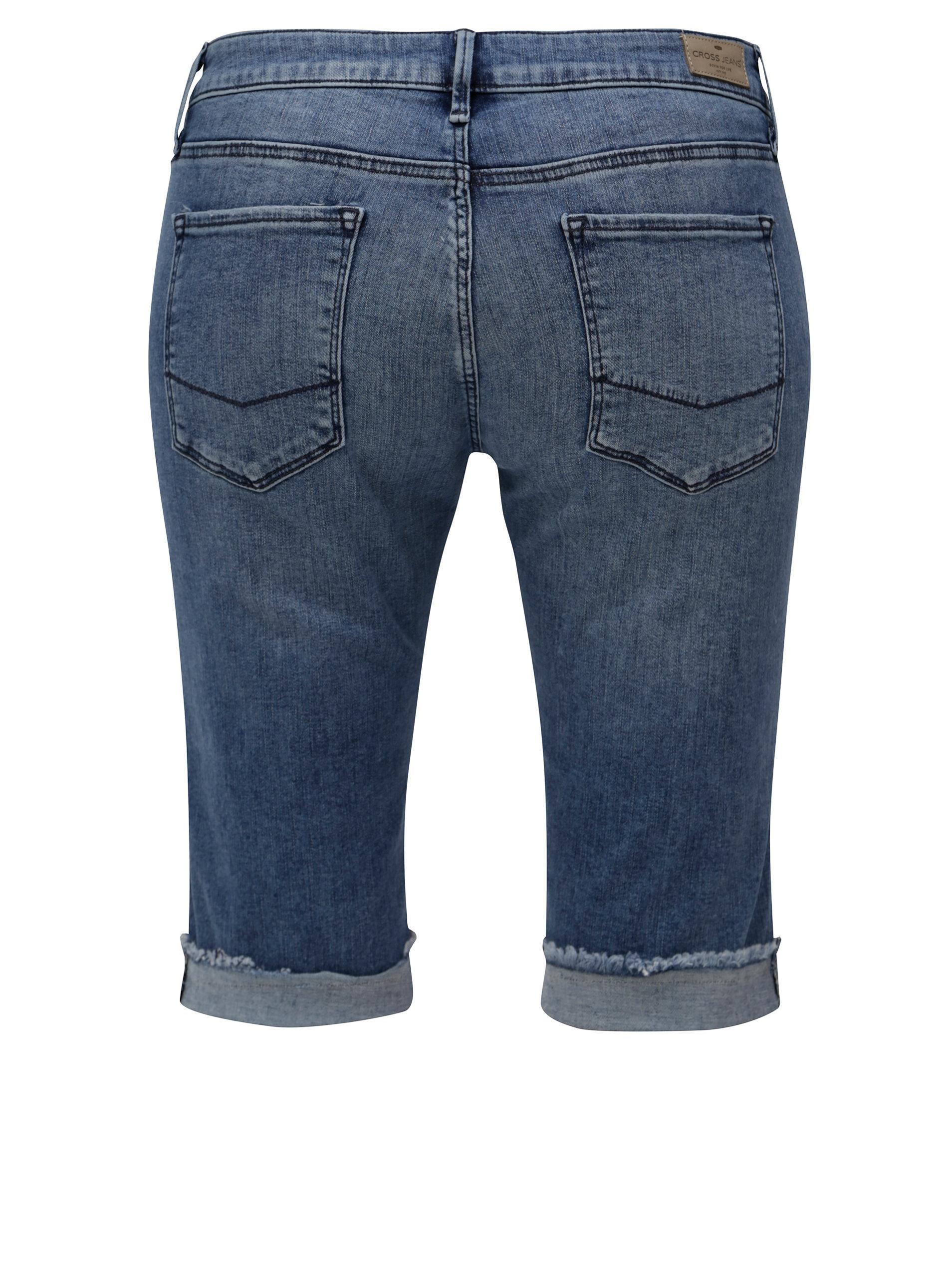 e99379d5d290 Modré dámske regular slim rifľové kraťasy s nízkym pásom Cross Jeans ...
