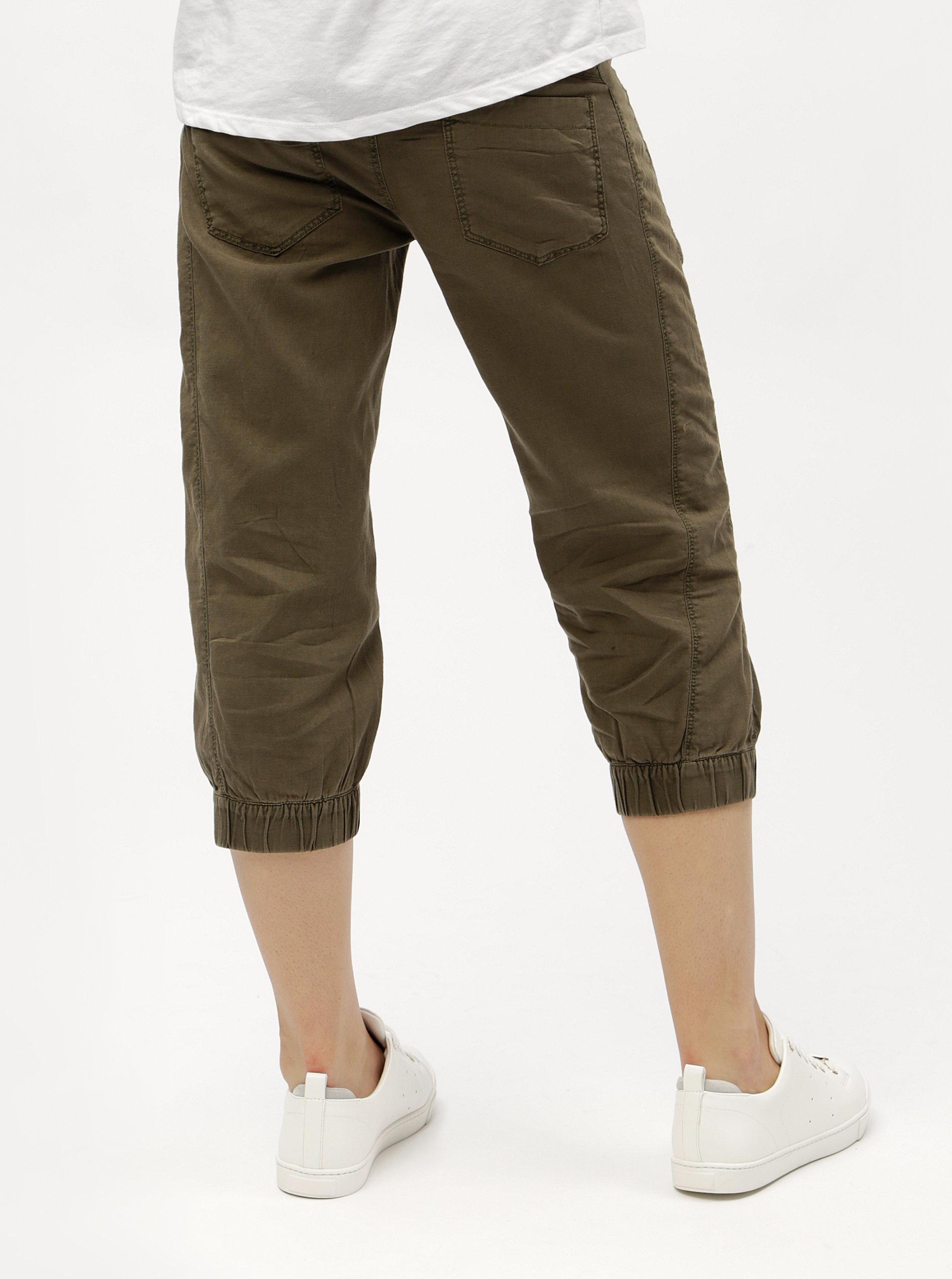 8ecf23ae6b2 Khaki lněné 3 4 kalhoty s kapsami VERO MODA Connie ...