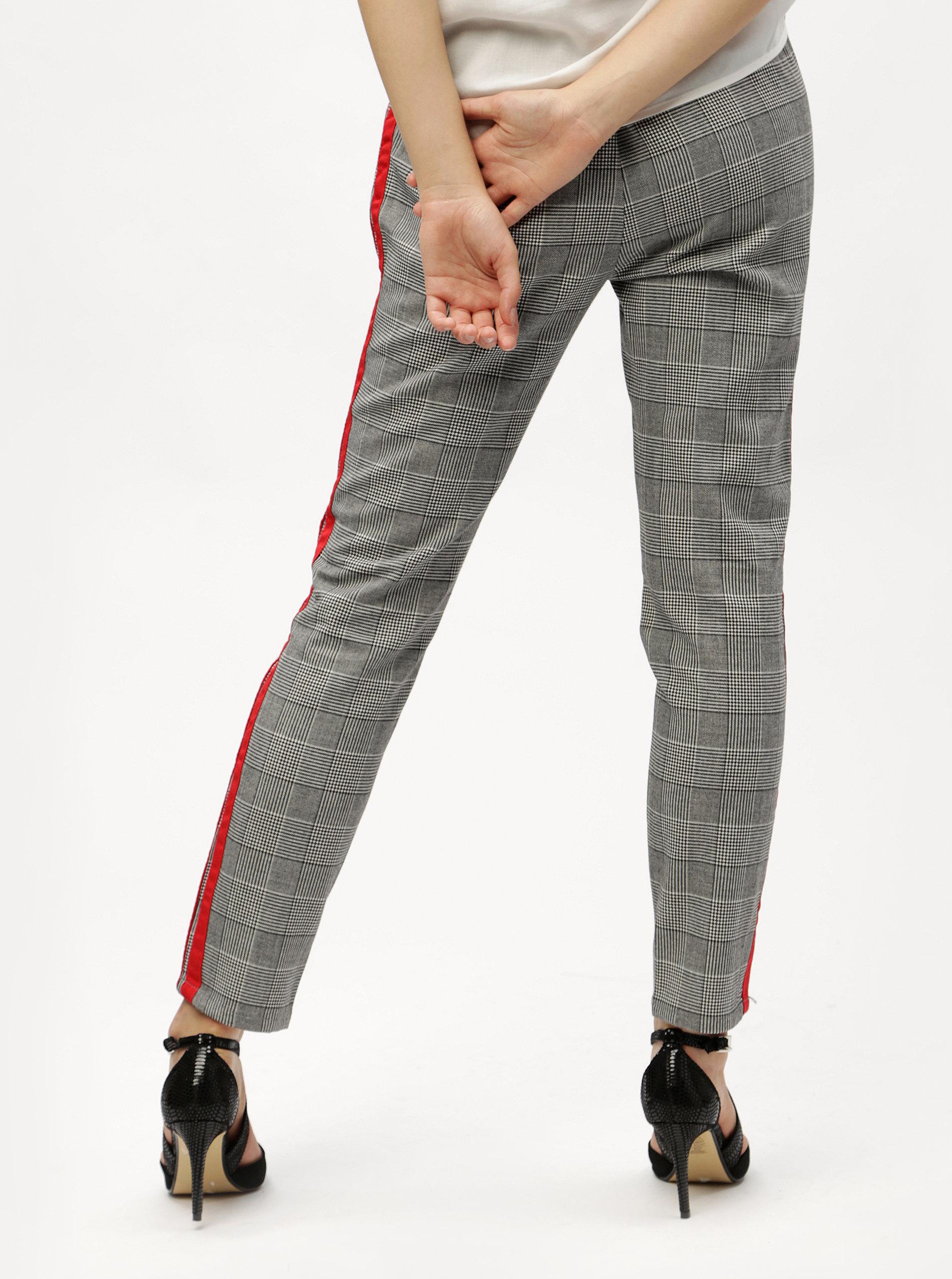 Šedé kostkované kalhoty s červenými pruhy a vysokým pasem VERO MODA Eva ... 73f41d9d5d
