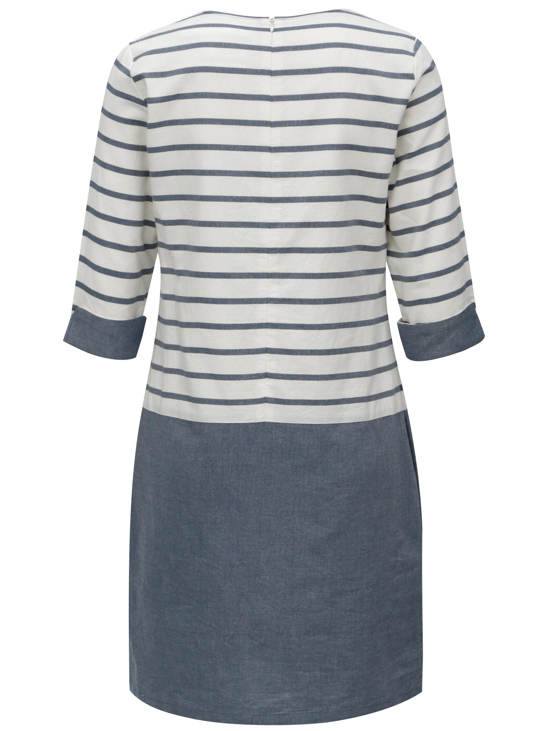 8c3dc0ee989 Modro-bílé pruhované šaty s 3 4 rukávem Brakeburn ...