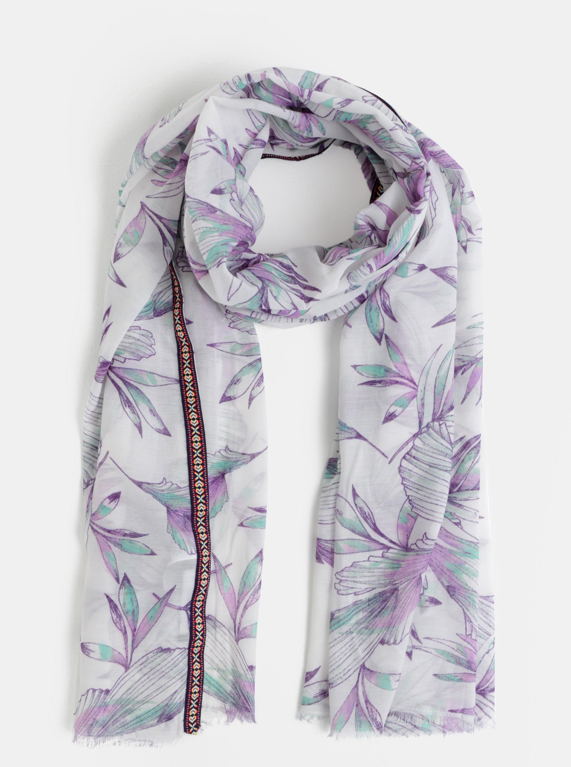 Fialovo-bílý květovaný šátek VERO MODA Mahareta