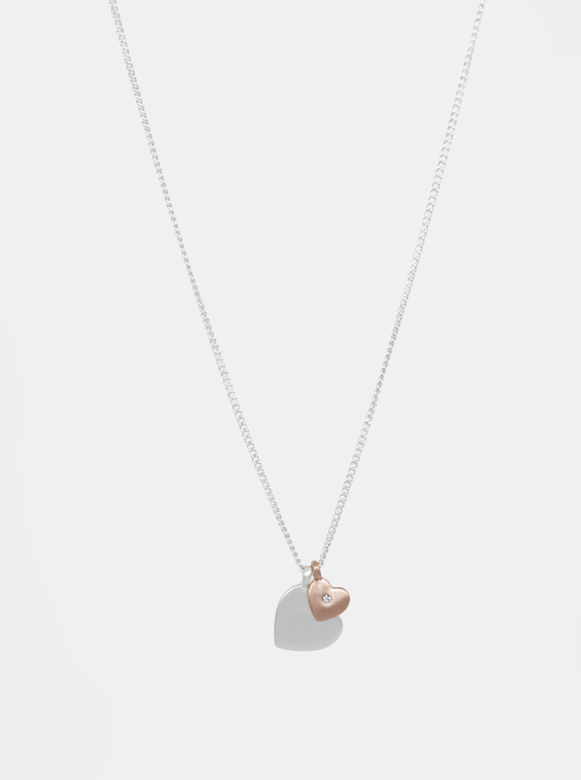 Postříbřený náhrdelník ve stříbrné barvě s křišťálem Pilgrim