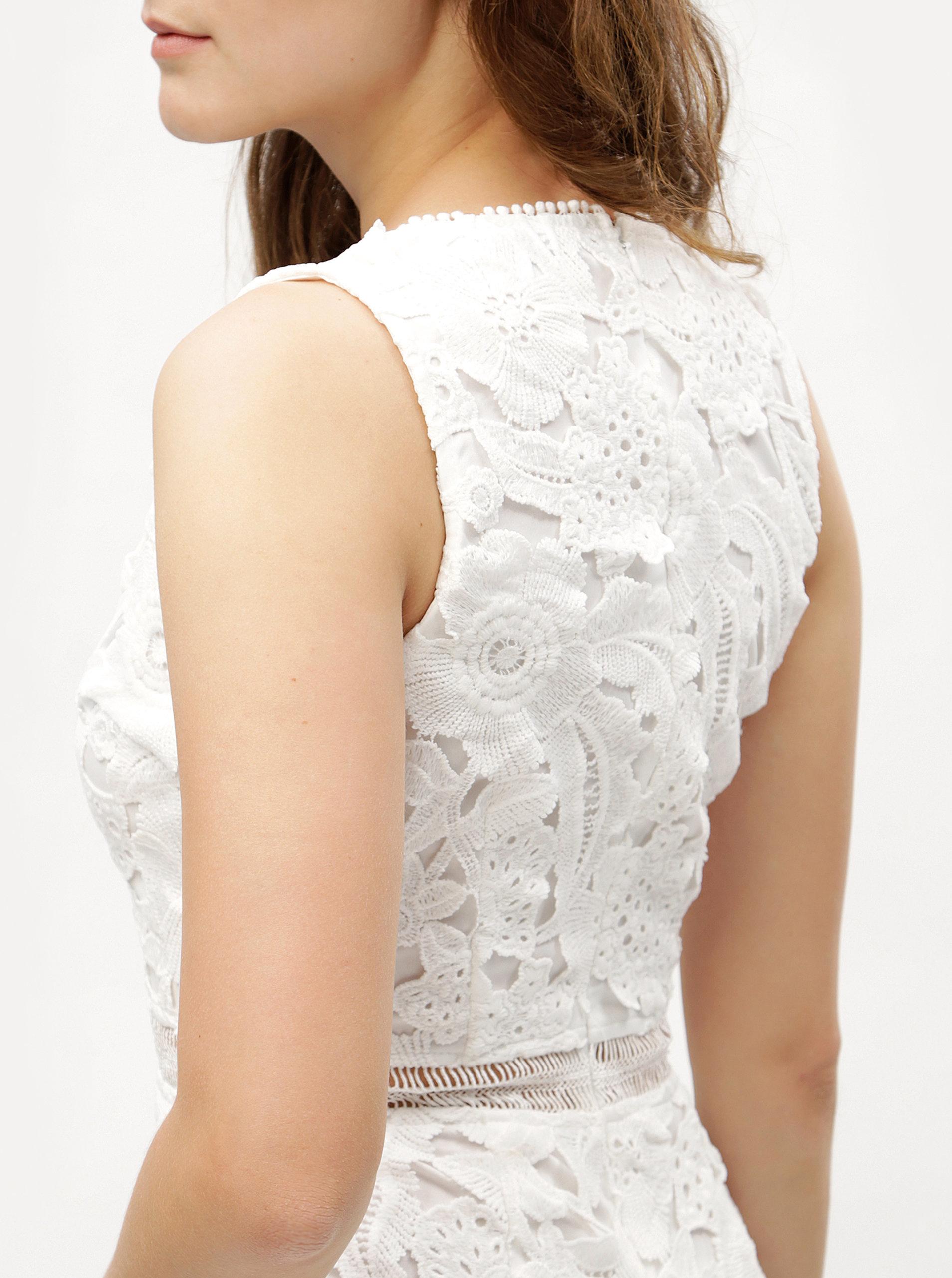 27b52c7840ac Biele puzdrové čipkované šaty s volánom MISSGUIDED ...