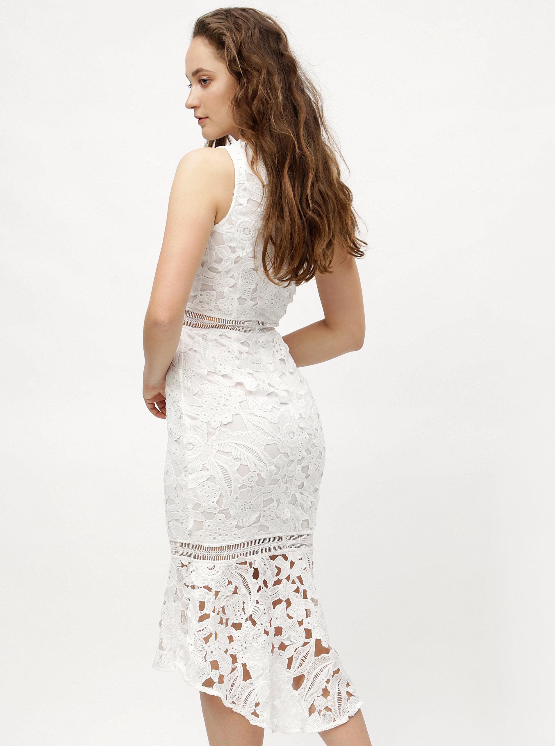 Bílé pouzdrové krajkové šaty s volánem MISSGUIDED ... 3826b95a38