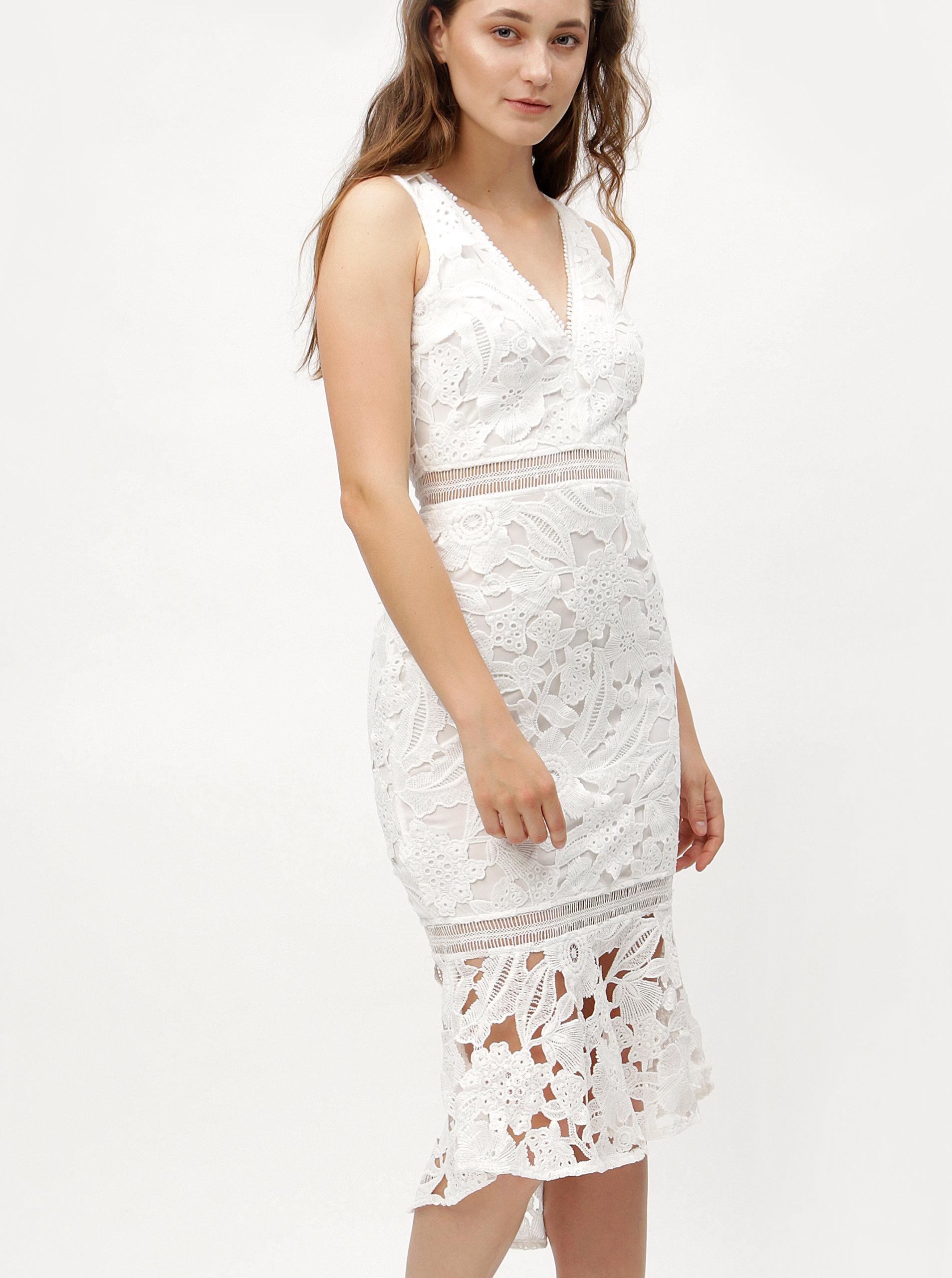 7638df774d0e Biele puzdrové čipkované šaty s volánom MISSGUIDED ...