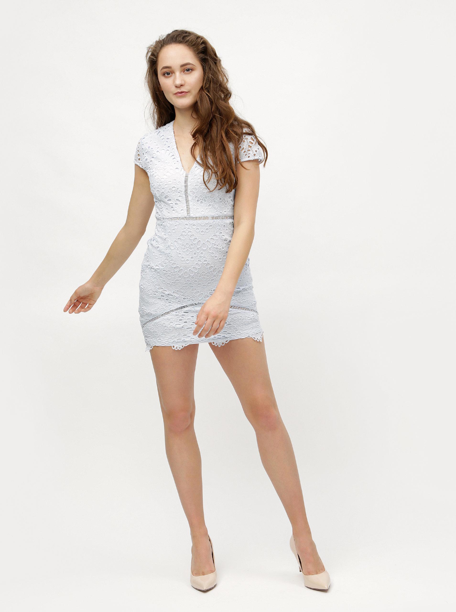 Světle modré krajkové pouzdrové šaty MISSGUIDED ... cc92af0425