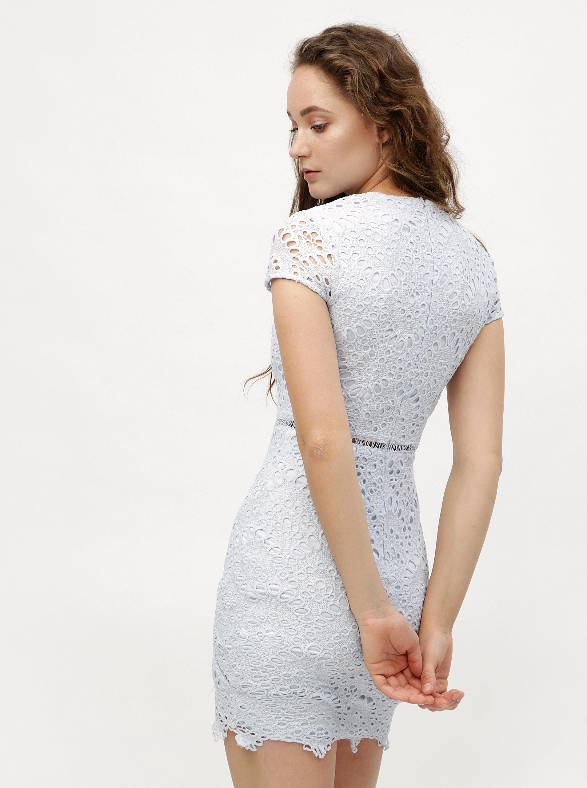 Světle modré krajkové pouzdrové šaty MISSGUIDED ... e4988cbc69