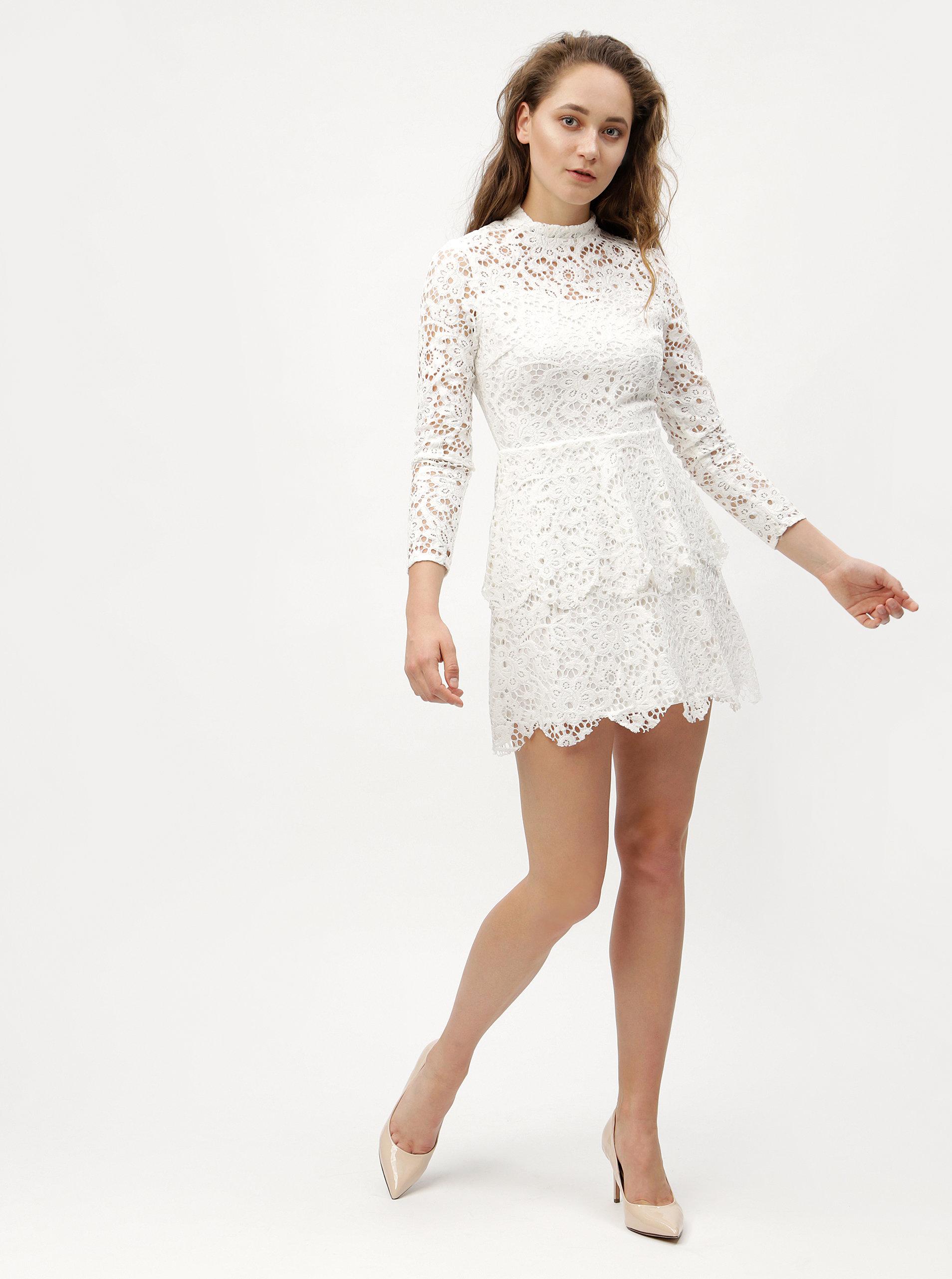 Bílé krajkové šaty s dlouhým rukávem MISSGUIDED ... 2d60f46988