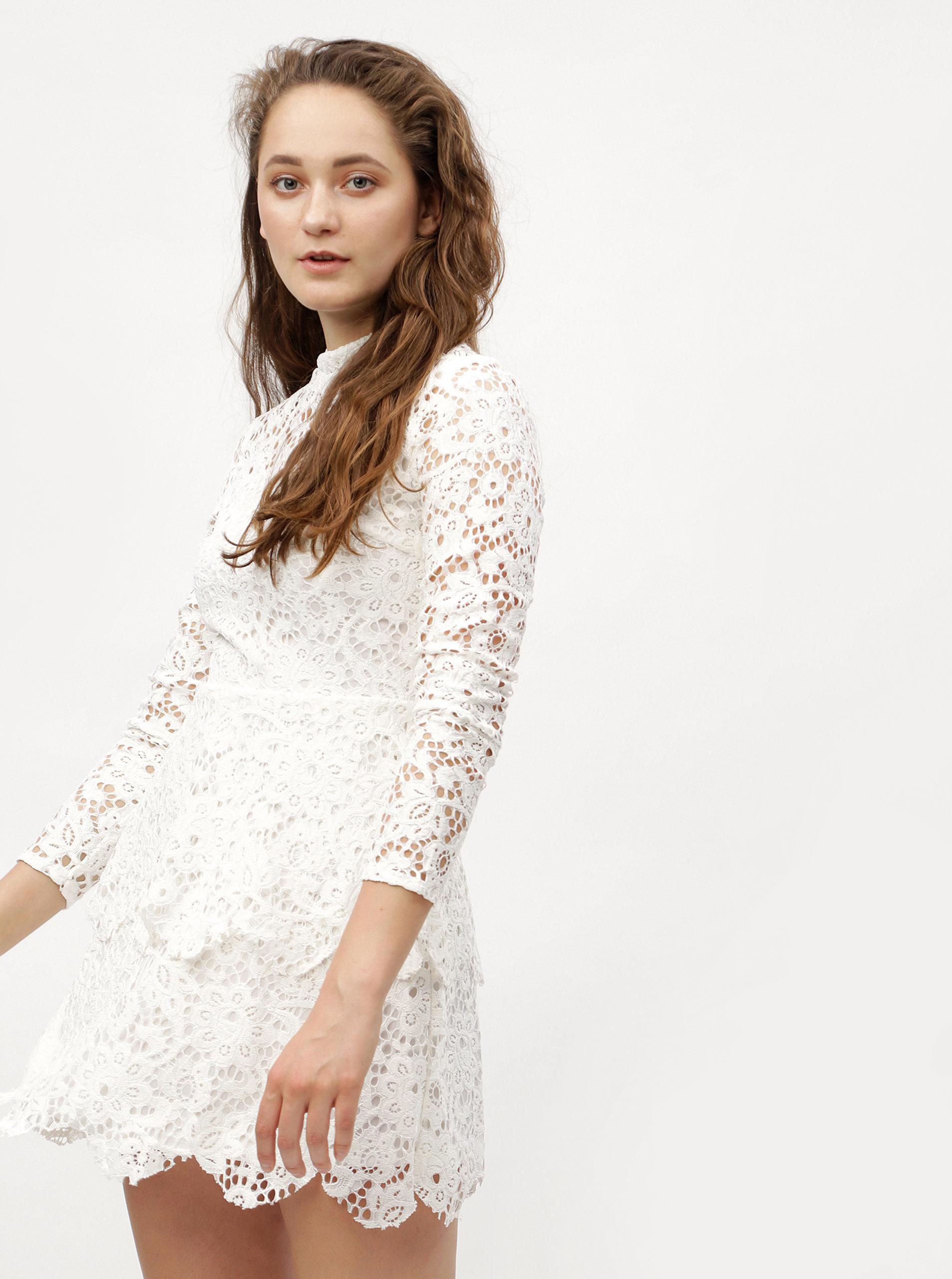 0b8d00ee536e Biele čipkované šaty s dlhým rukávom MISSGUIDED ...