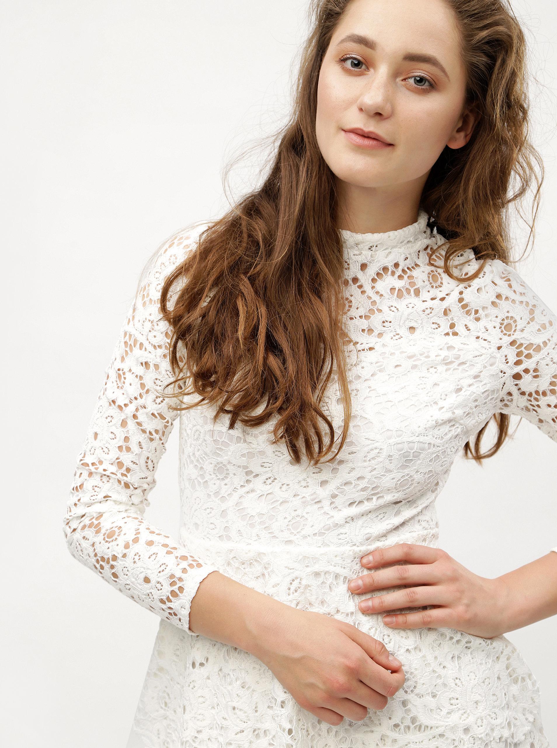 Bílé krajkové šaty s dlouhým rukávem MISSGUIDED ... 96ca630238