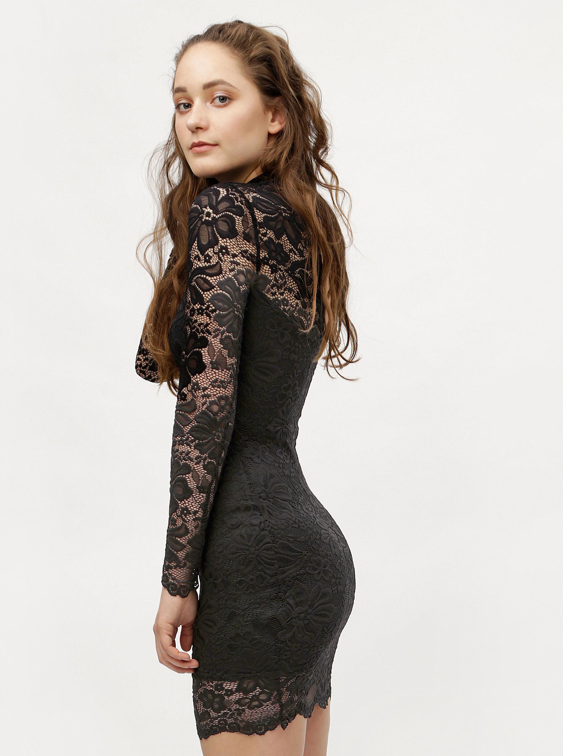 Černé krajkové pouzdrové šaty s dlouhým rukávem MISSGUIDED ... 90bdf099e6