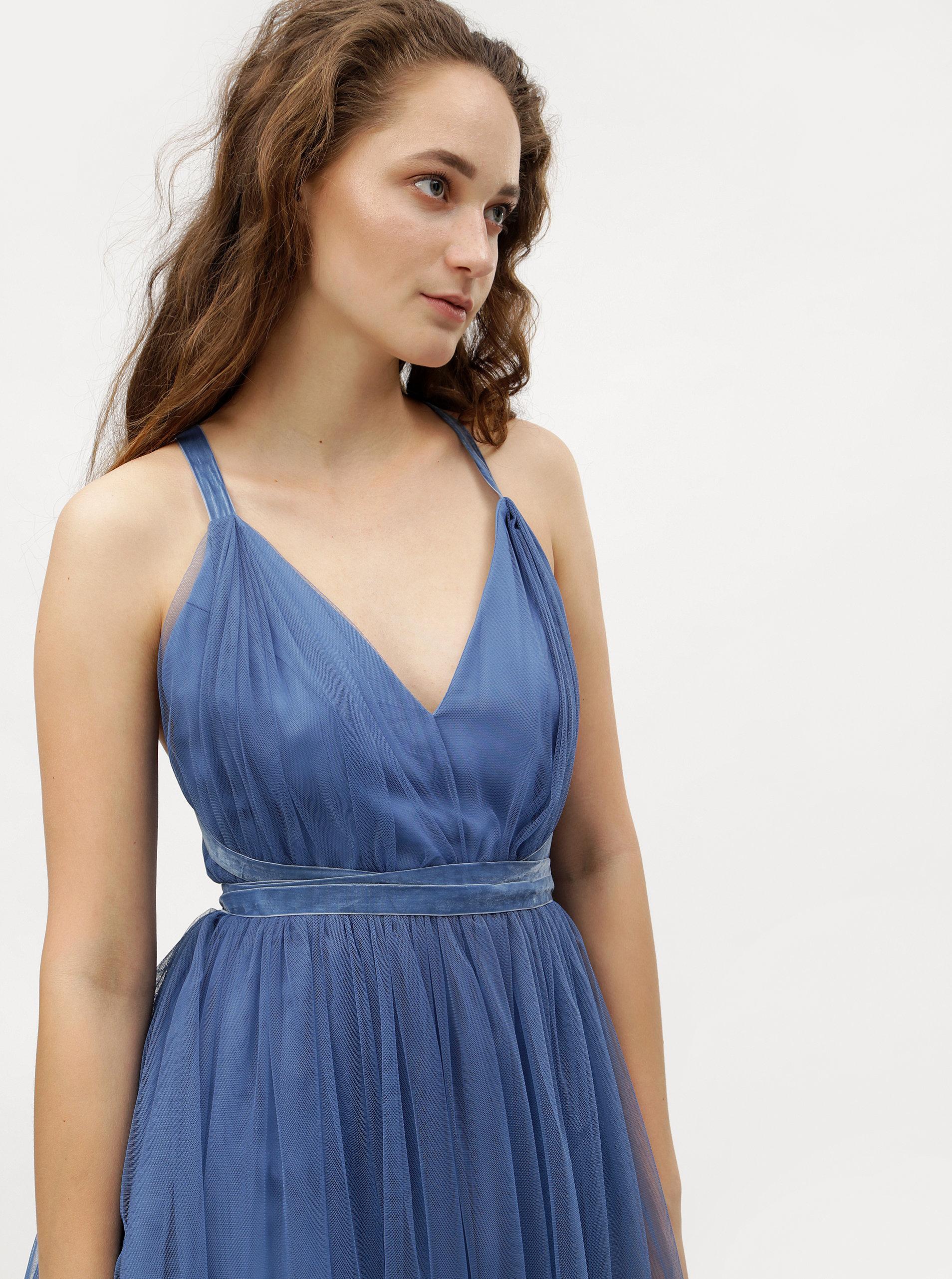 2d68d9add530 Modré tylové šaty na zaväzovanie MISSGUIDED ...