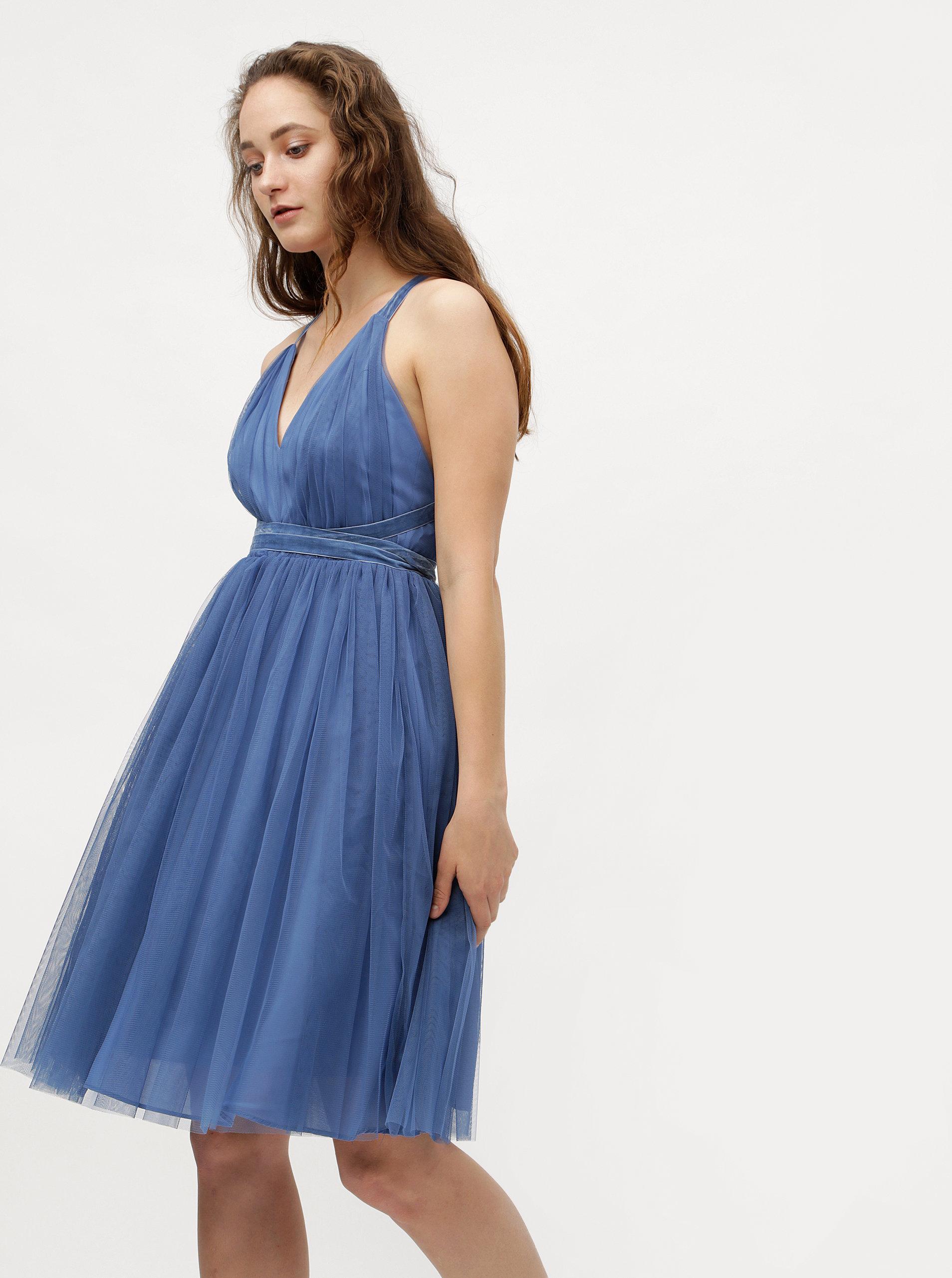 5fd06ca955f0 Modré tylové šaty na zaväzovanie MISSGUIDED ...