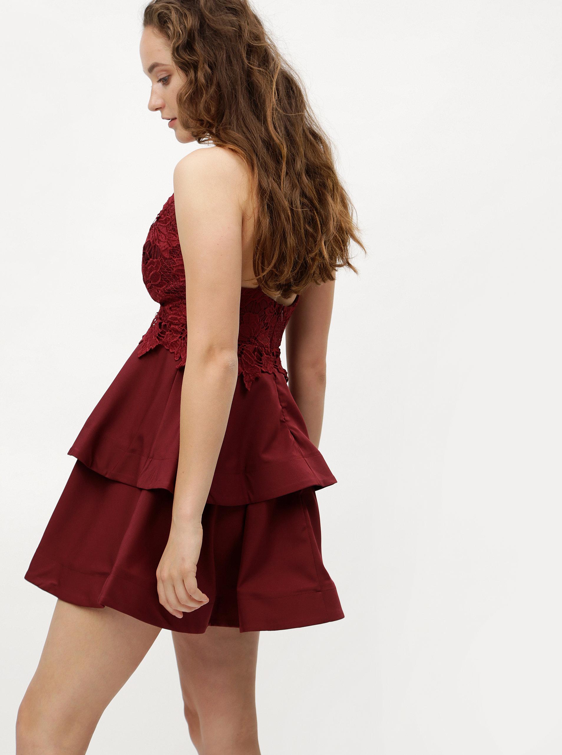 b8dcc8904cae Vínové šaty na ramienka s čipkou MISSGUIDED ...