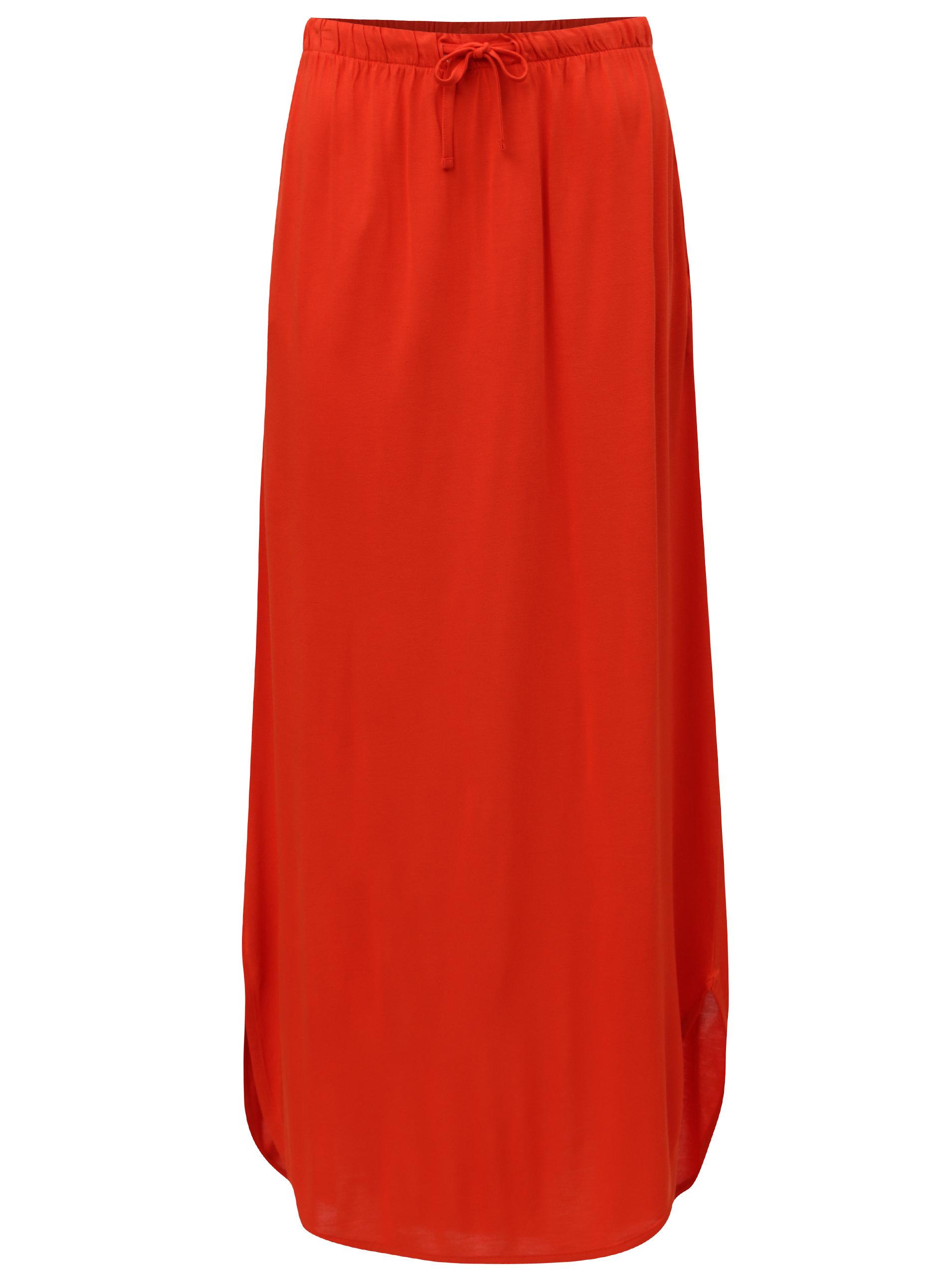3376add2401 Červená maxi sukně s kapsami Jacqueline de Yong Safety ...