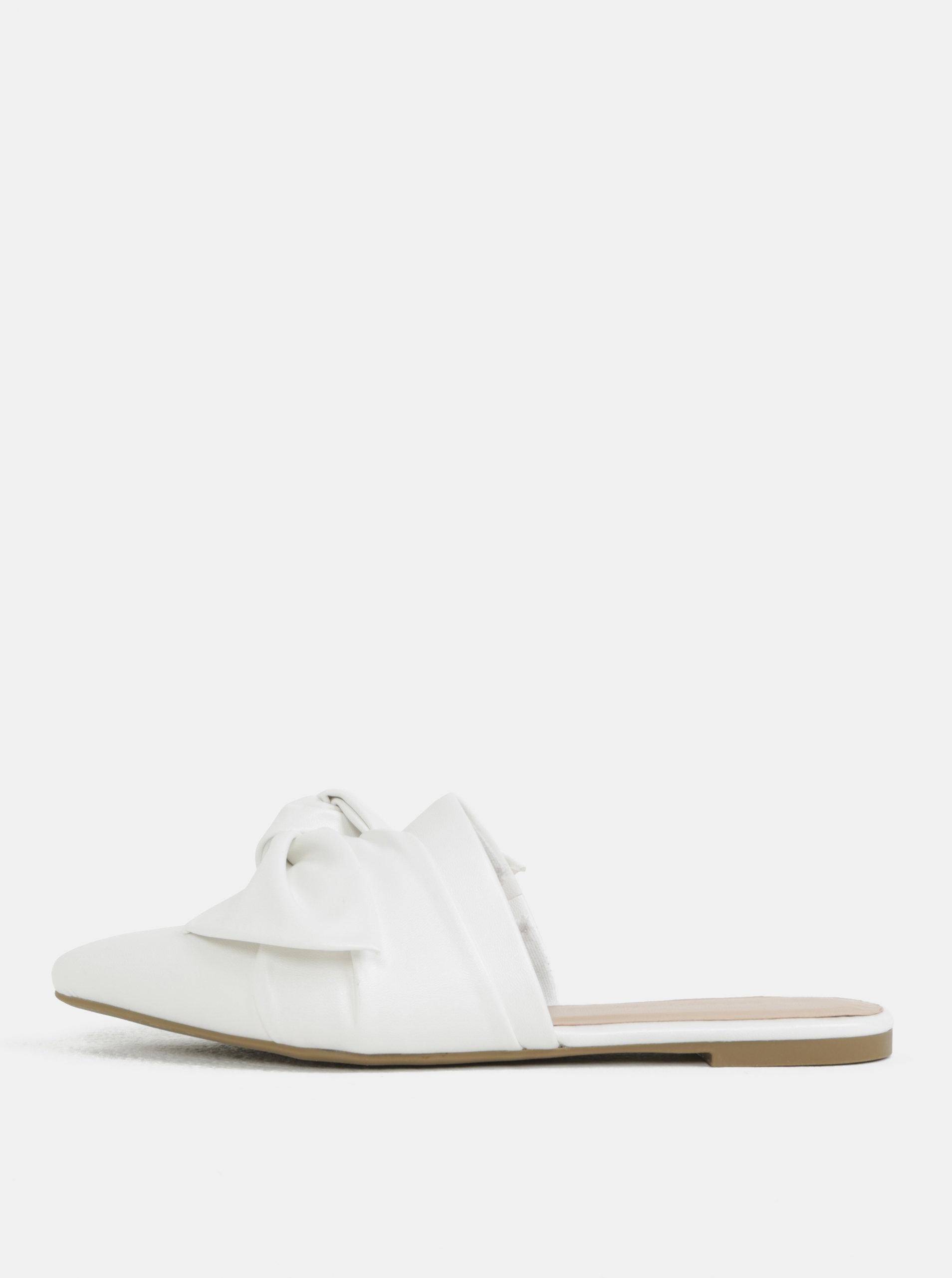 Bílé pantofle do špičky s mašlí Dorothy Perkins