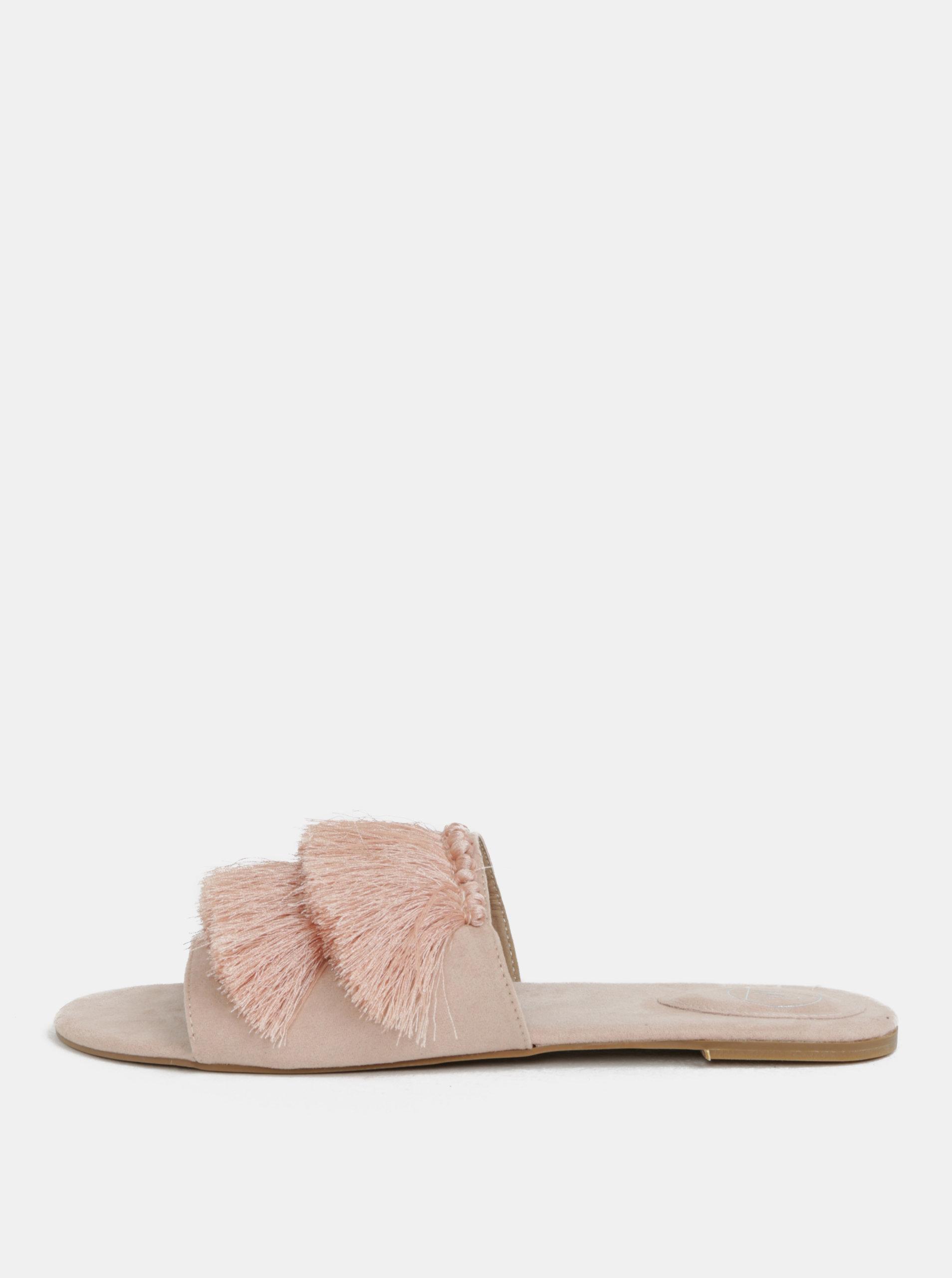 Světle růžové pantofle v semišové úpravě s třásněmi MISSGUIDED