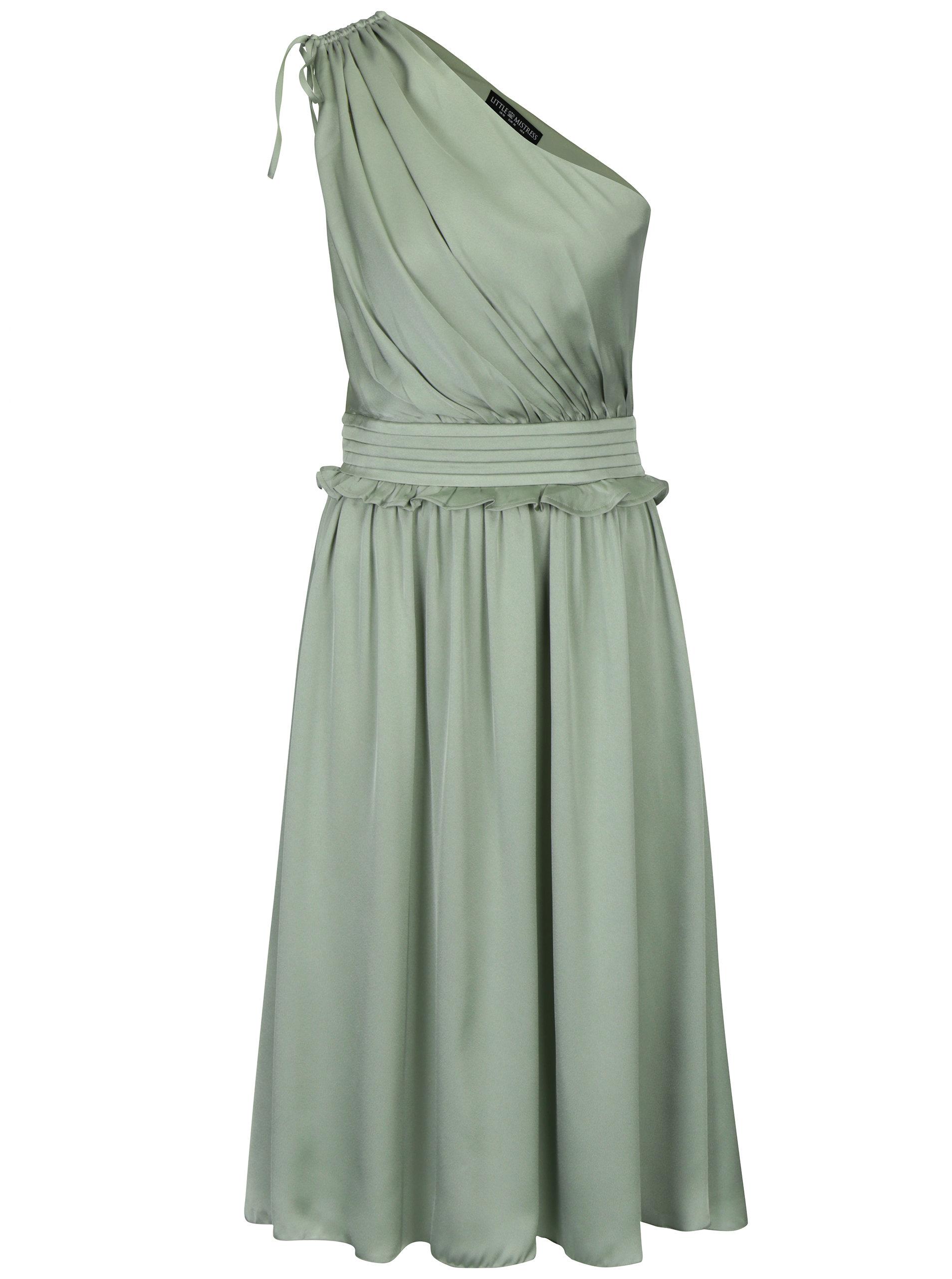 Světle zelené asymetrické šaty s volánem Little Mistress ... 4b54767161