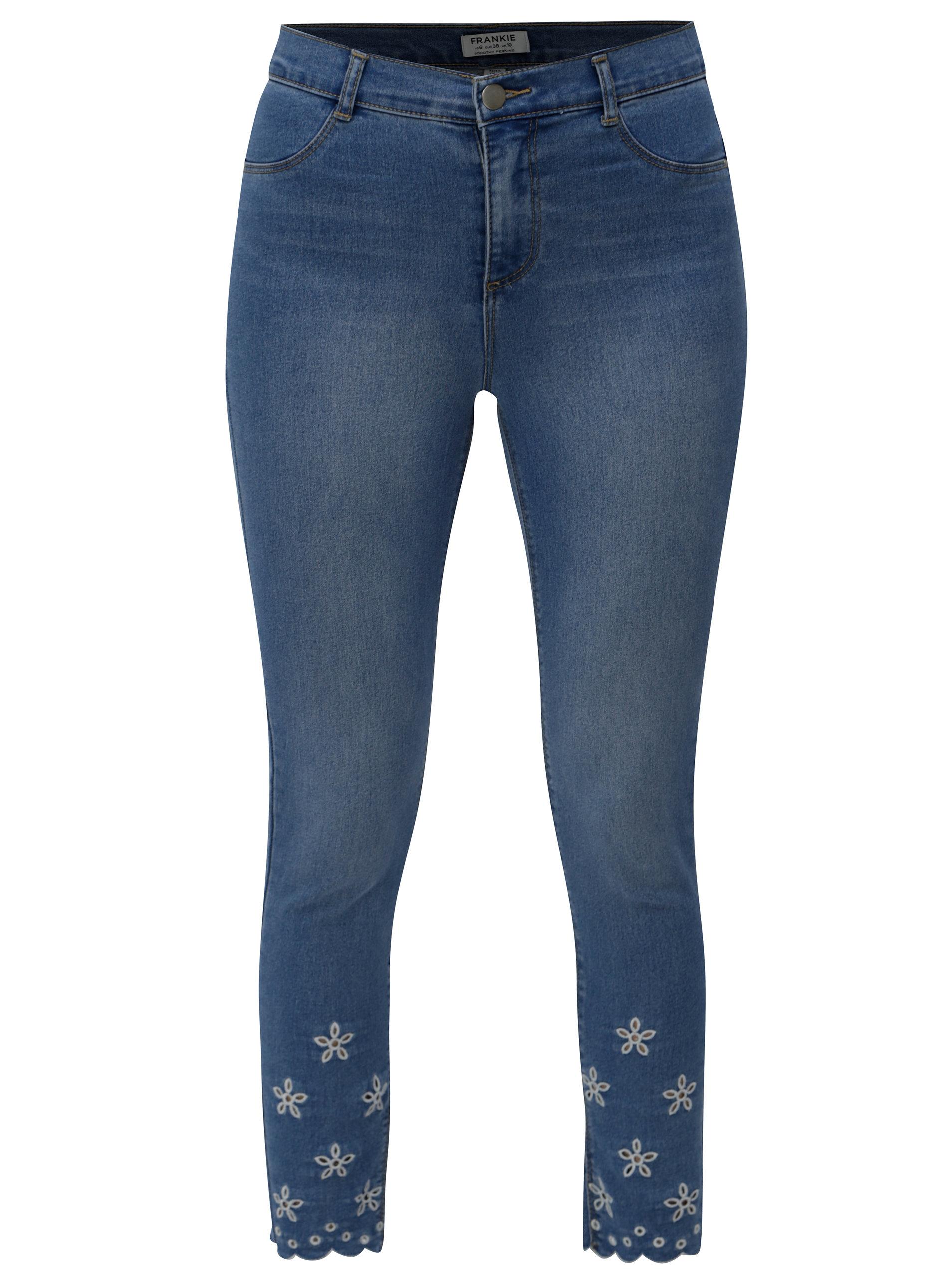 7e2a7ce5aa1 Modré zkrácené skinny džíny s průstřihy na nohavicích Dorothy Perkins  Frankie ...