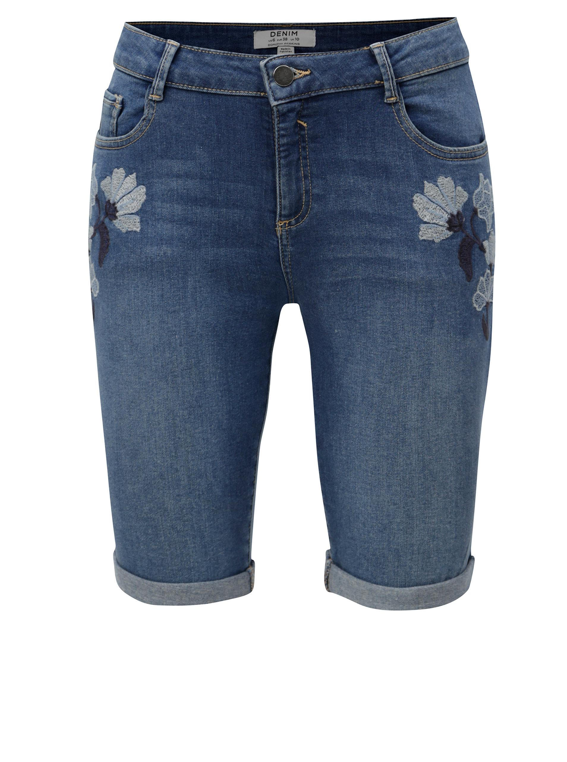Modré džínové regular kraťasy s výšivkou květin Dorothy Perkins