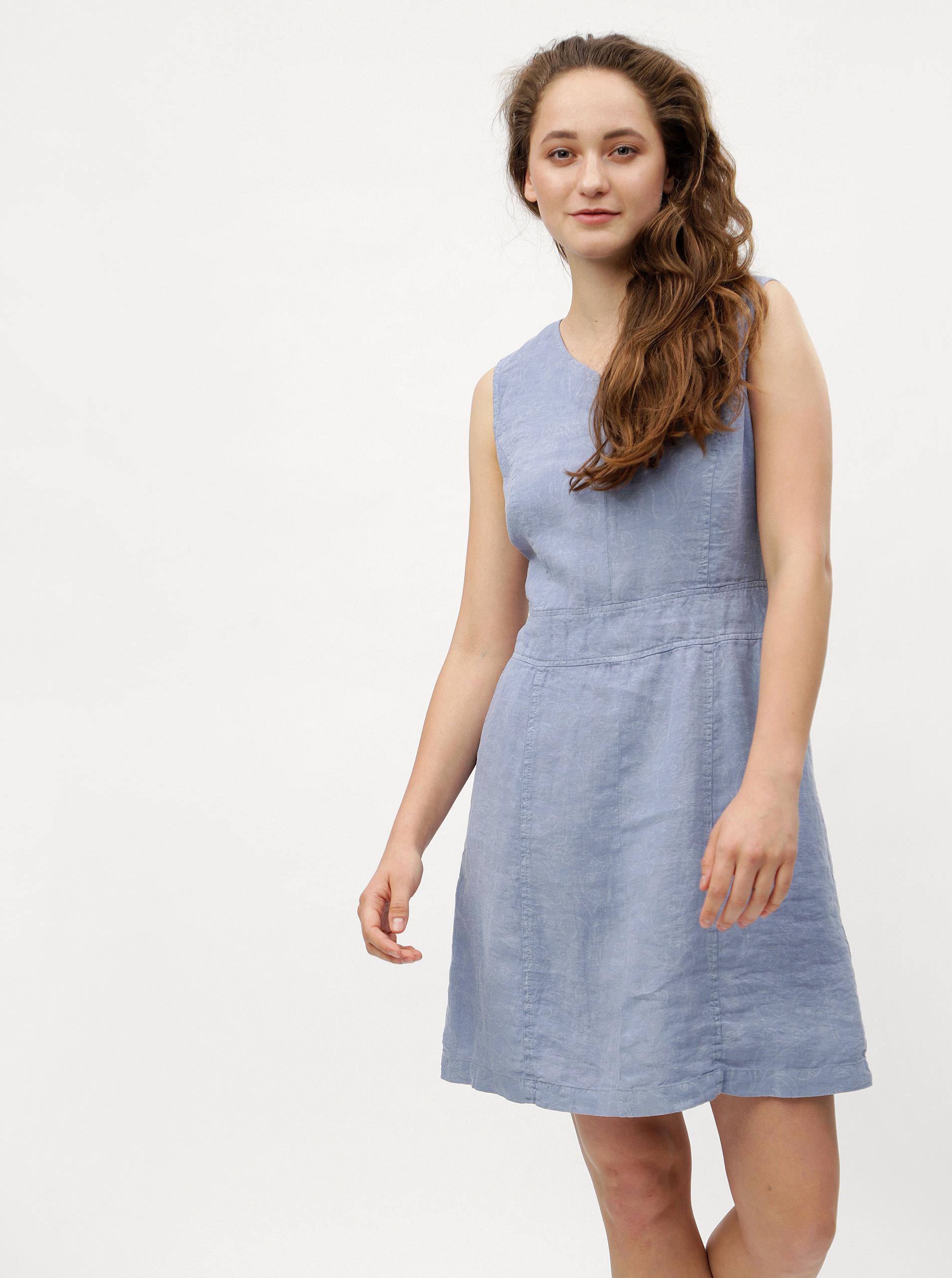 Světle modré lněné šaty s květovaným vzorem s.Oliver  b300d97d6f