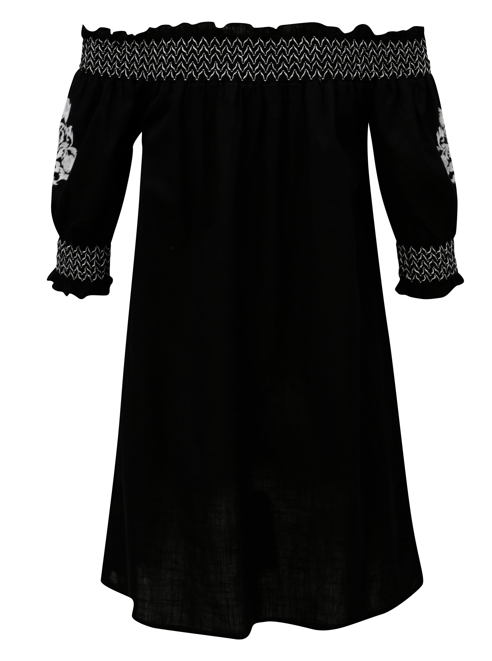 Černá tunika s výšivkou a odhalenými rameny Dorothy Perkins ... de3324f091
