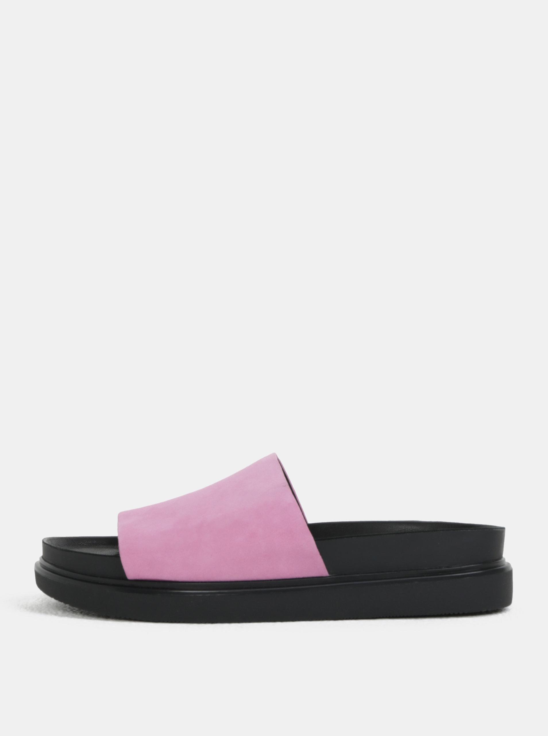 Černo-růžové dámské semišové pantofle na platformě Vagabond Erin