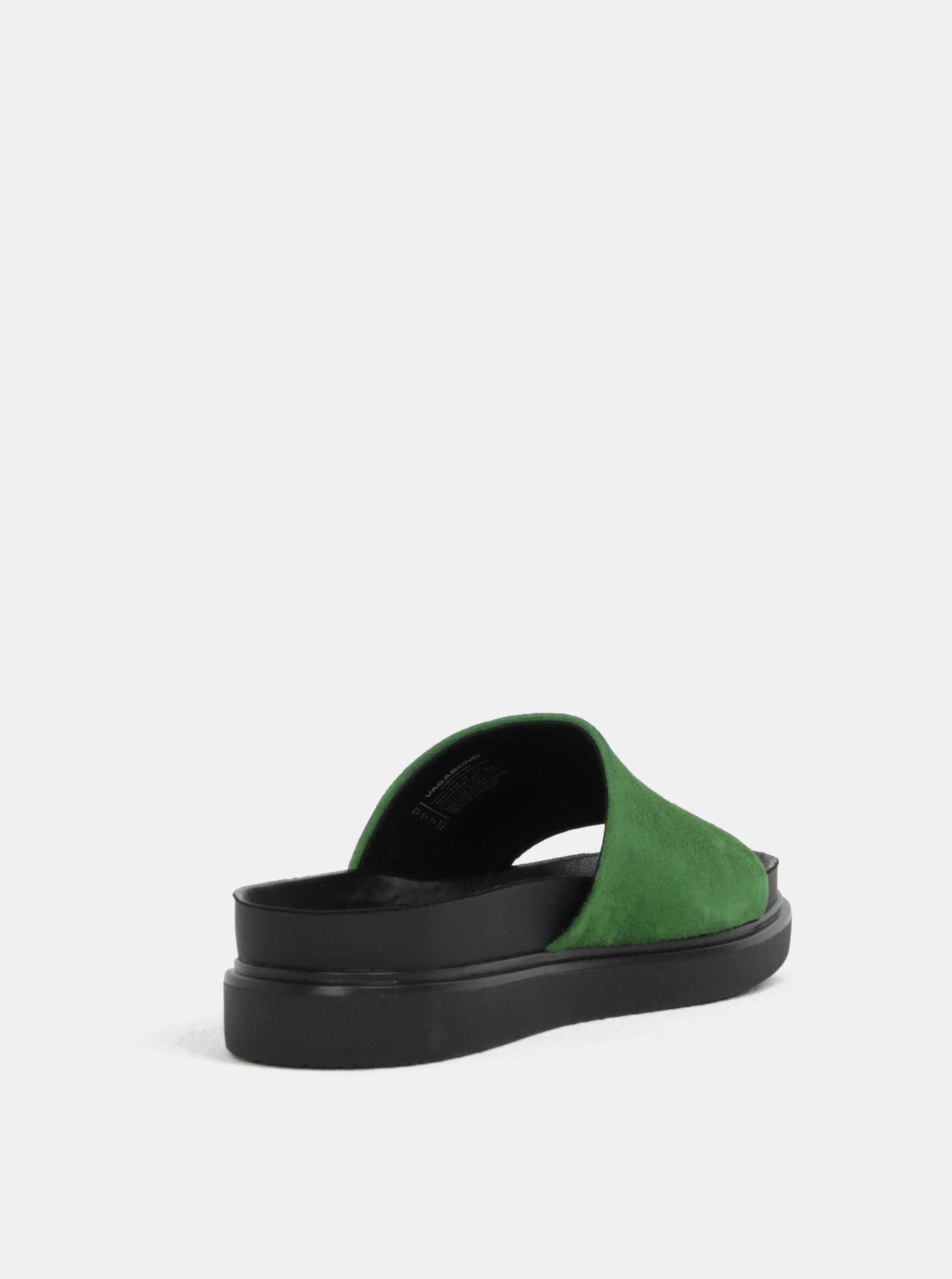 90c900078ce7 Čierno-zelené dámske semišové šľapky na platforme Vagabond Erin ...