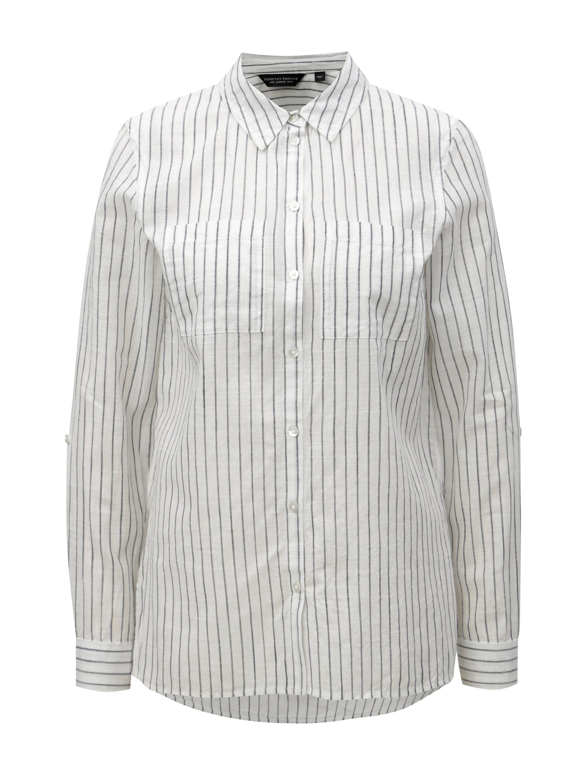 15ae410db6d5 Sivo–biela pruhovaná košeľa s dlhým rukávom Dorothy Perkins ...