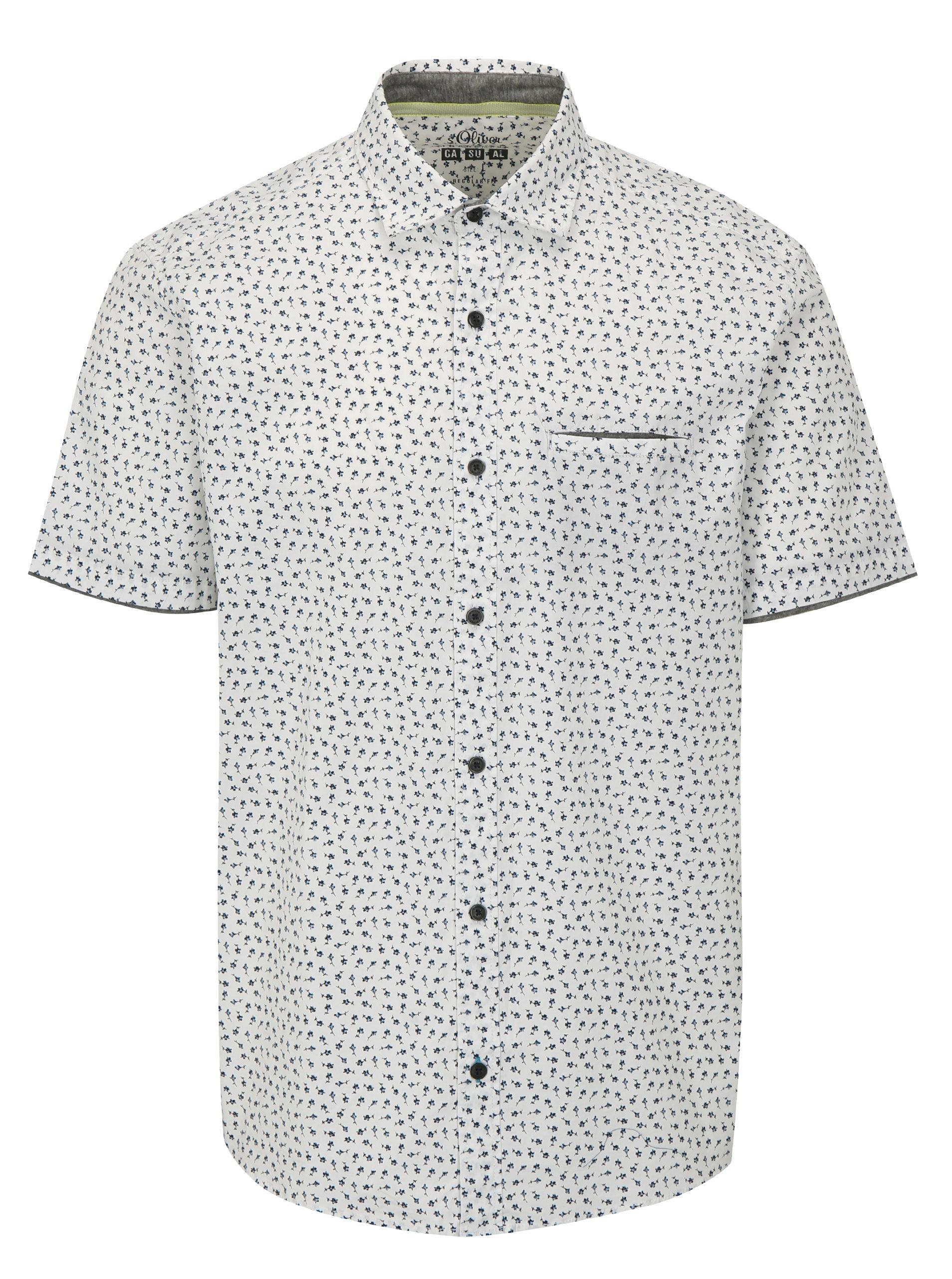 824f0e359 Biela pánska regular fit košeľa so vzorom s.Oliver | ZOOT.sk