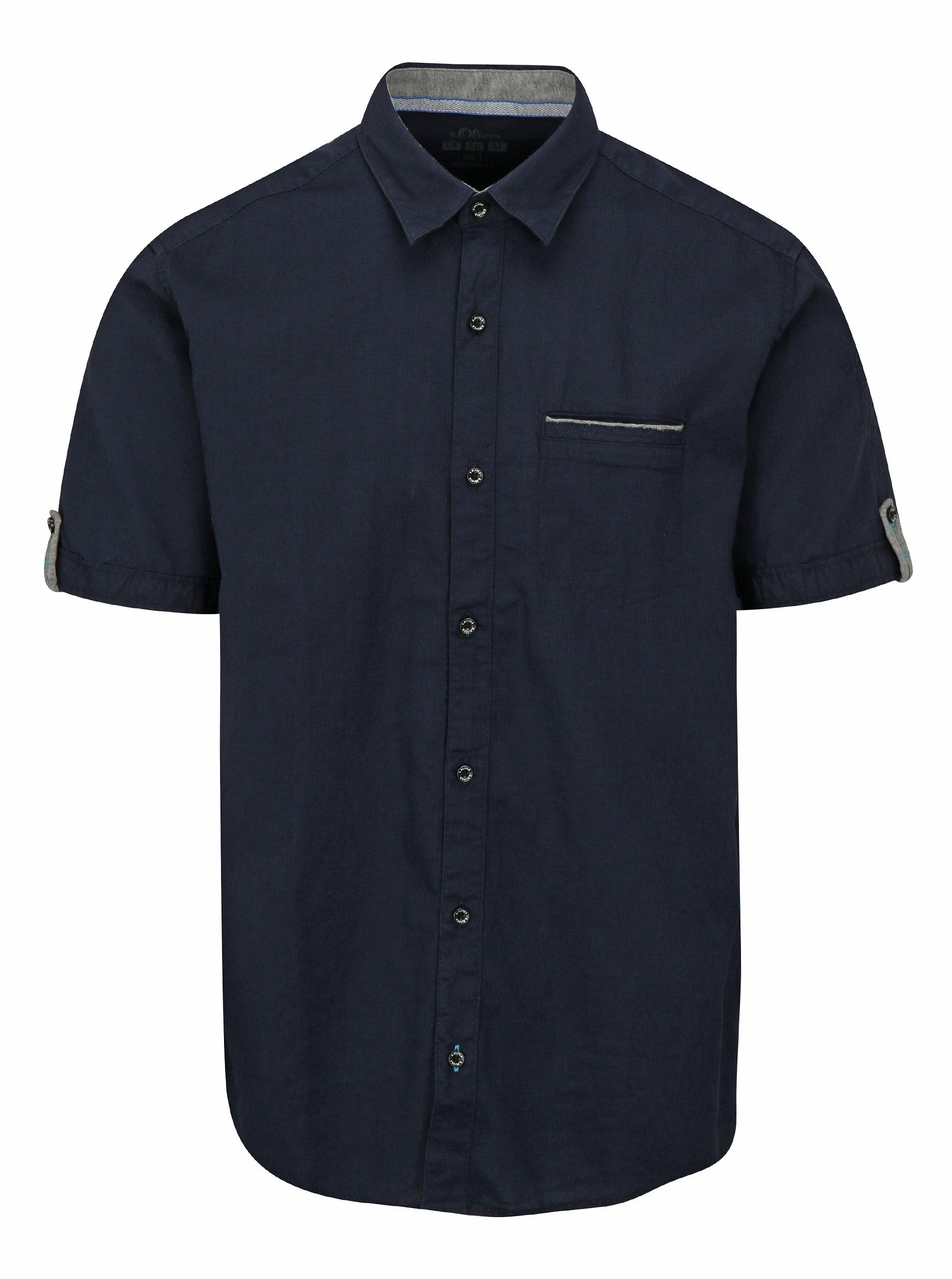 f1bfb2a6bd56 Tmavomodrá pánska regular fit košeľa s.Oliver