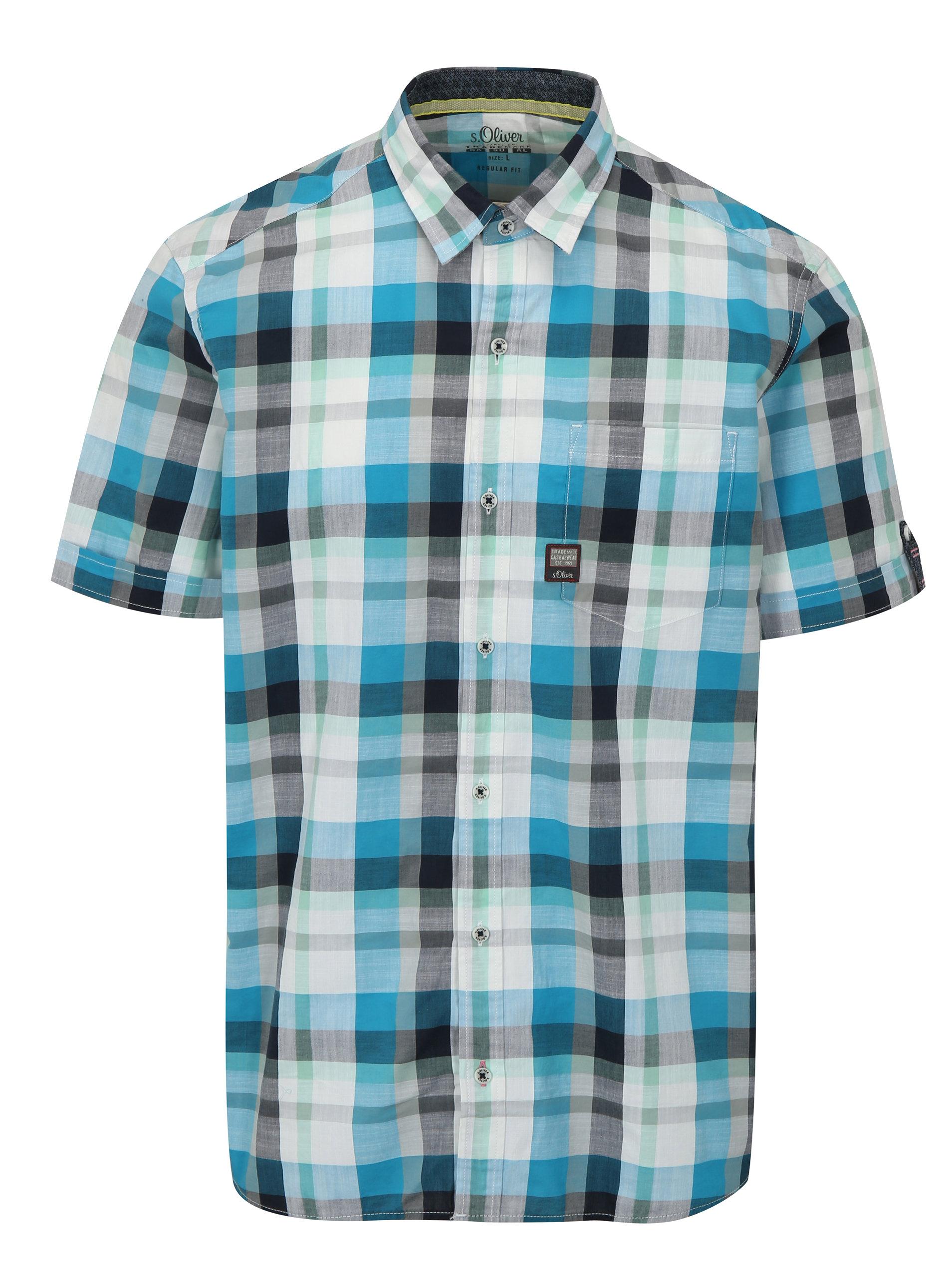 1b91bbde1298 Bielo-modrá kockovaná pánska regular fit košeľa s.Oliver