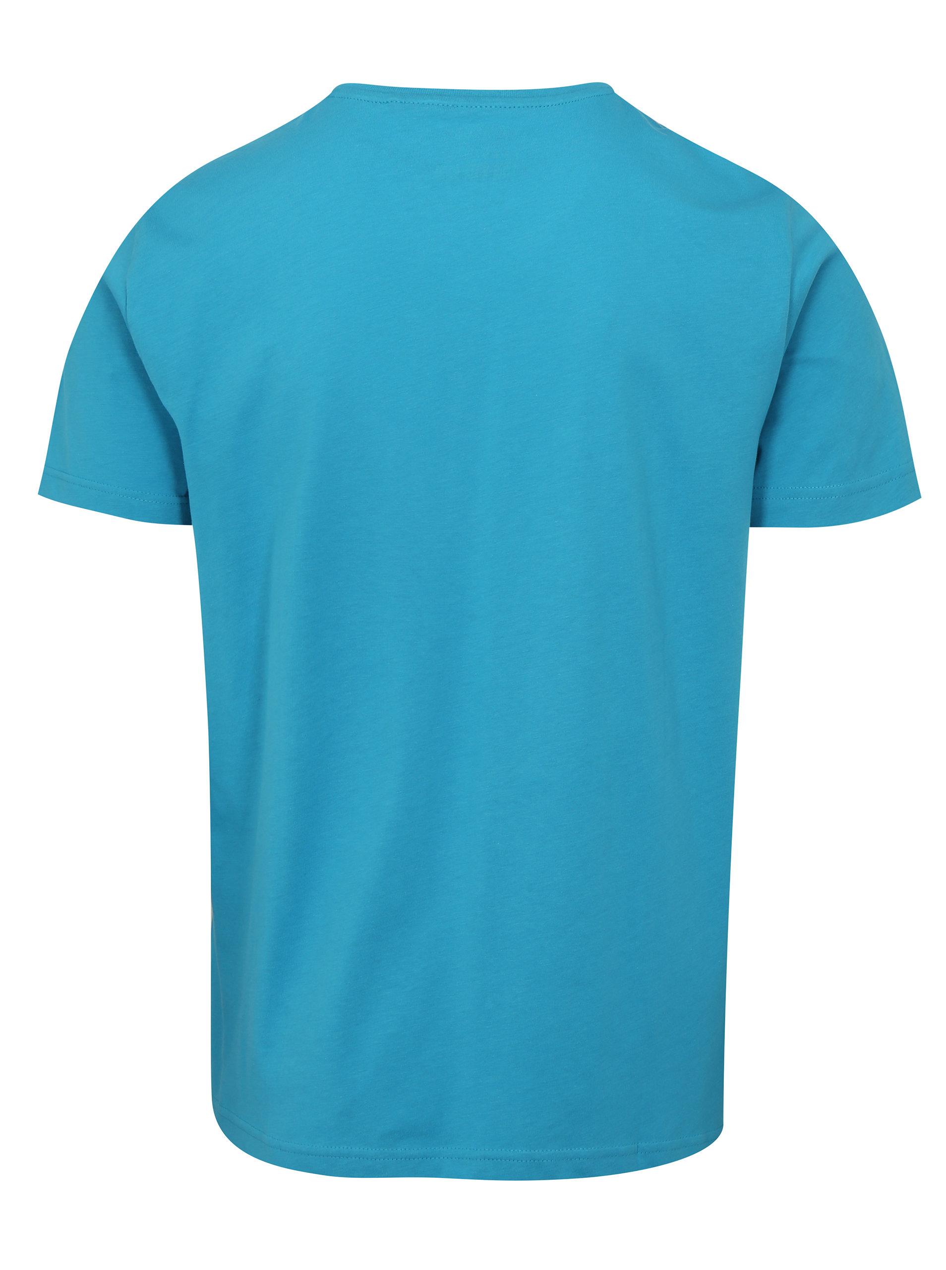 ca1d968bed83 Modré pánske tričko s potlačou s.Oliver