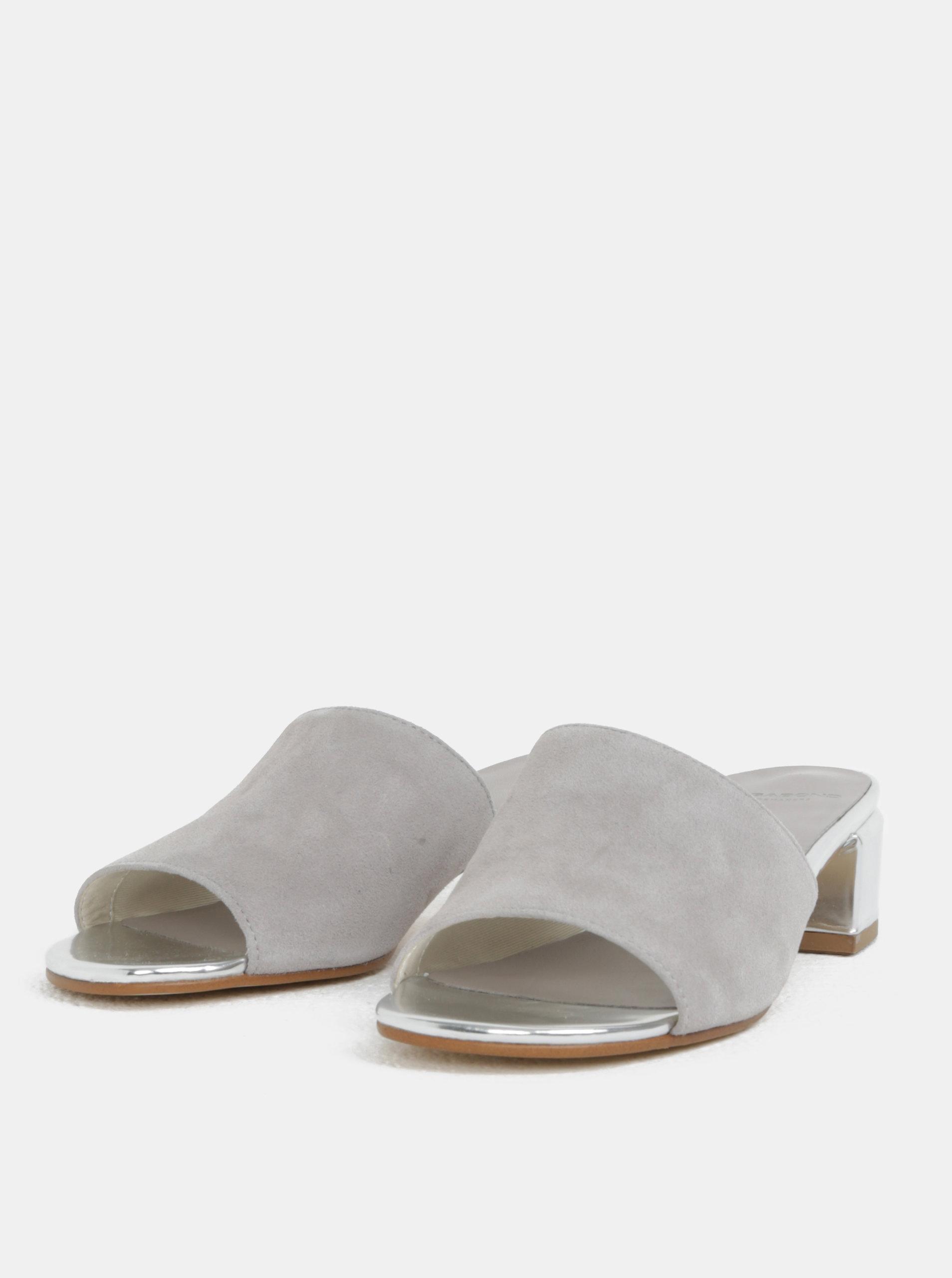 9aae4108450e Sivé dámske semišové šľapky na podpätku Vagabond Aisha ...