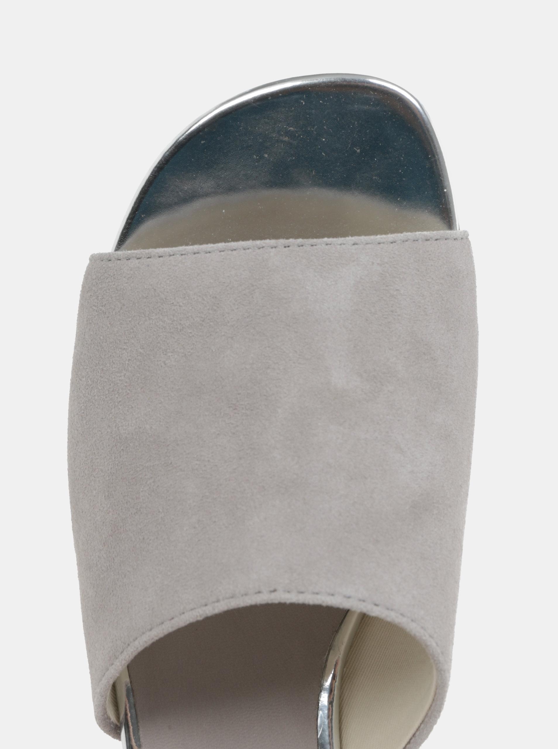 05ce2c02f135 Sivé dámske semišové šľapky na podpätku Vagabond Aisha ...