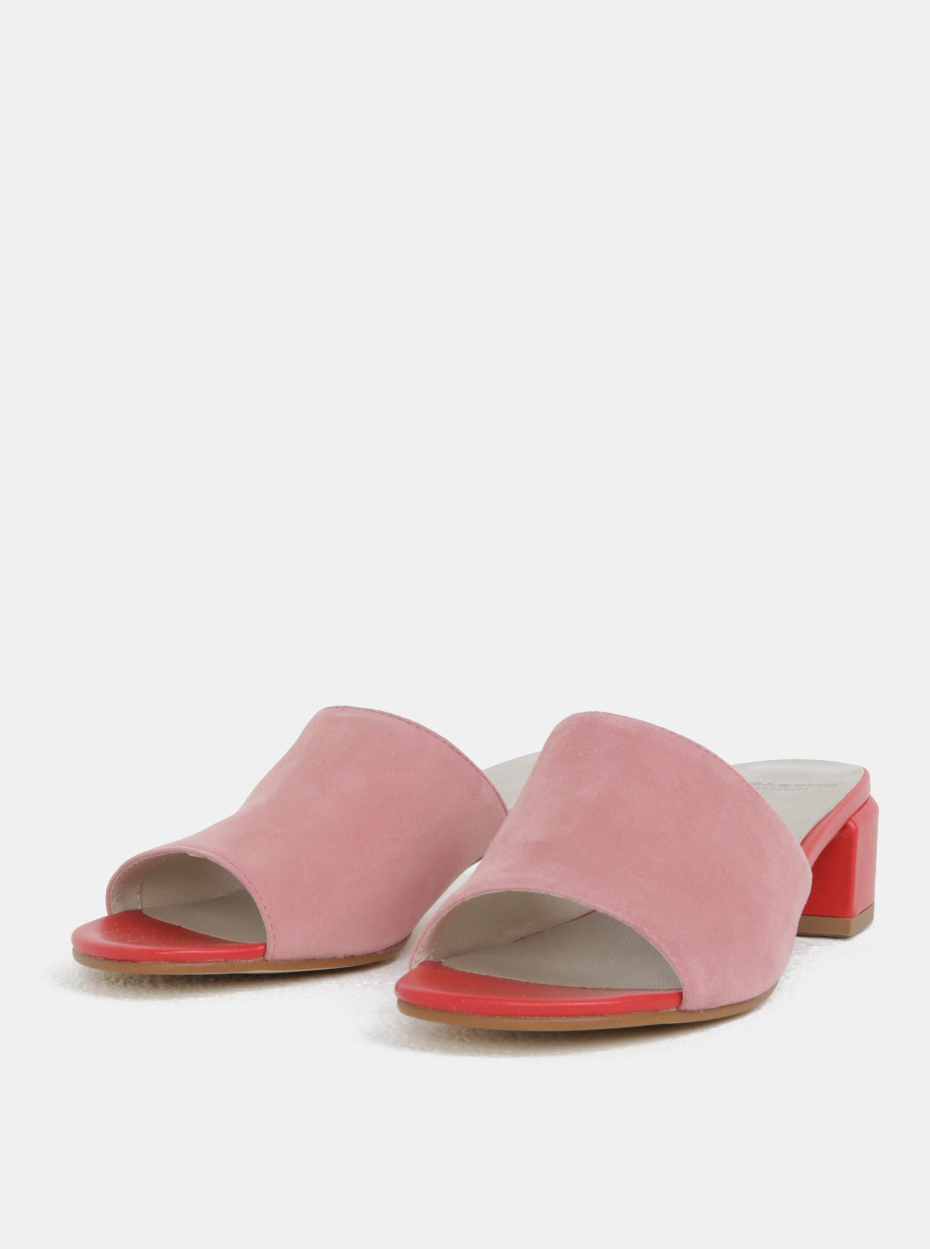 e4bee9f1e741 Červeno-ružové dámske semišové šľapky na podpätku Vagabond Aisha ...