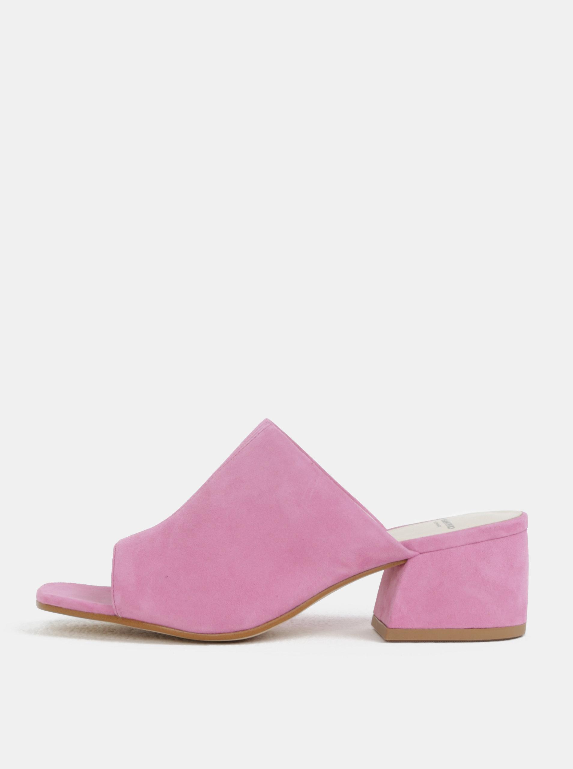 Růžové dámské semišové pantofle na podpatku Vagabond Saide