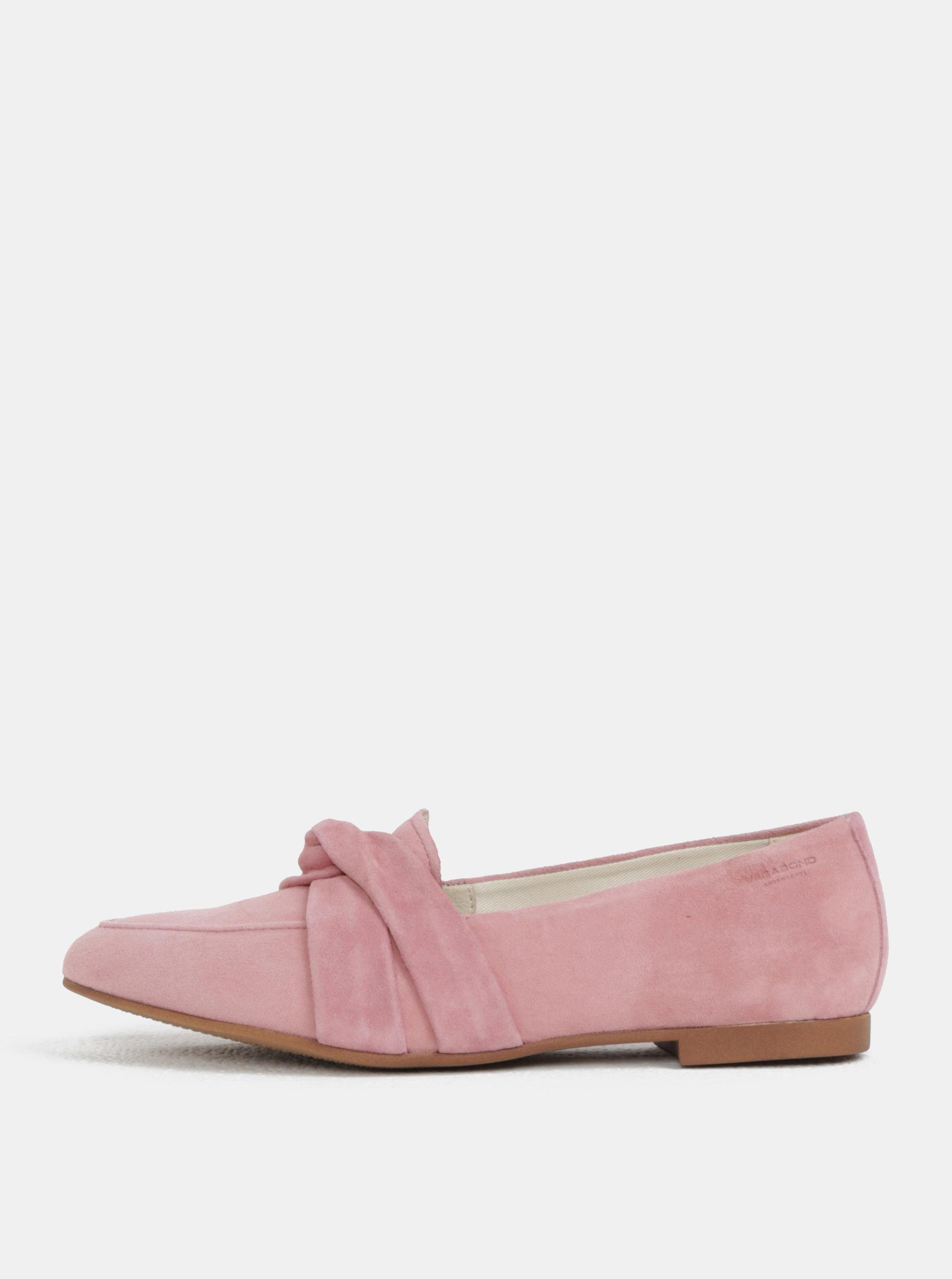 Světle růžové dámské semišové mokasíny Vagabond Eliza