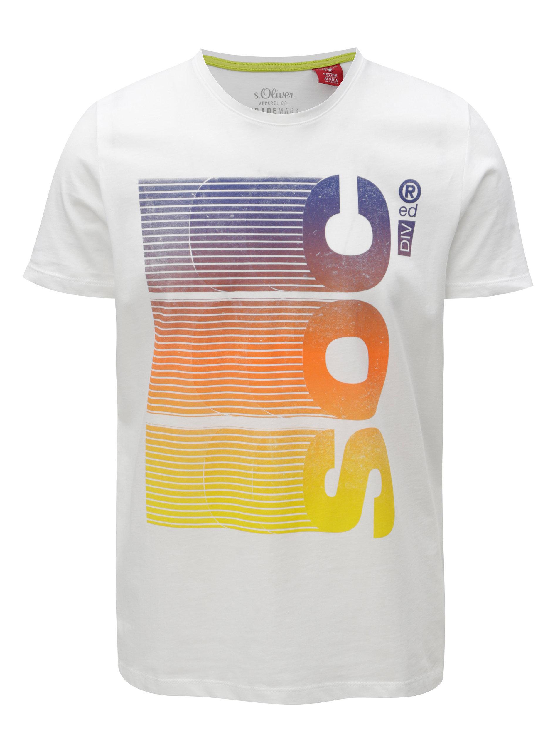 ea032955f1 Bílé pánské slim fit tričko s potiskem s.Oliver ...