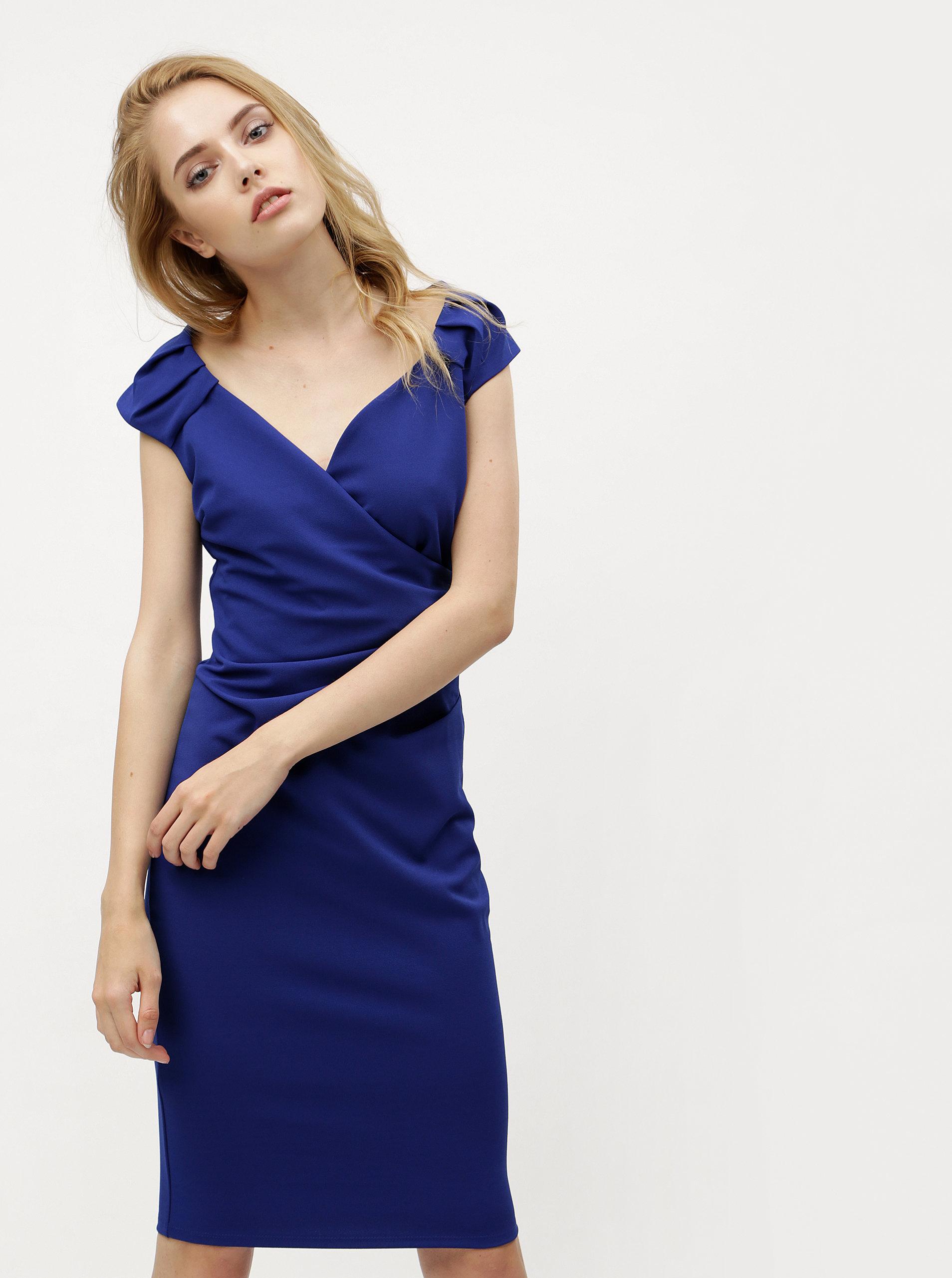 de01d98c6d99 Modré šaty s překládaným výstřihem ZOOT - Akční cena