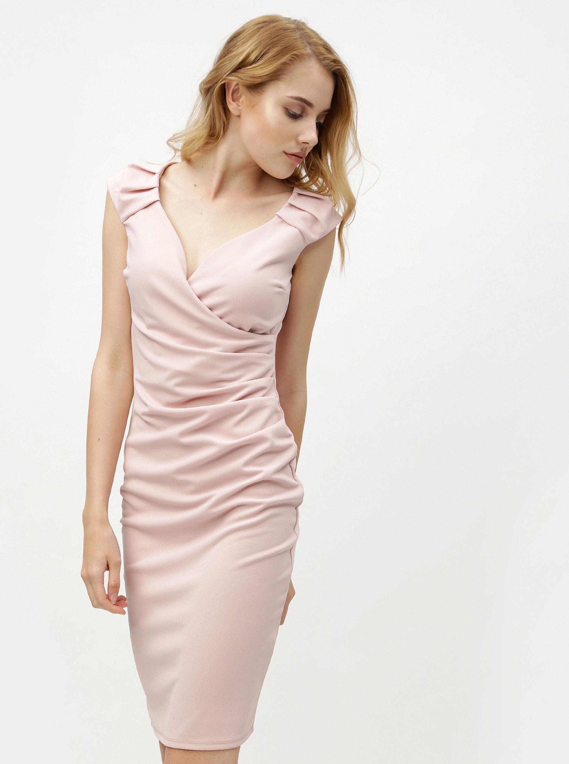 6a43eb53c2a4 Svetloružové šaty s prekladaným výstrihom ZOOT ...