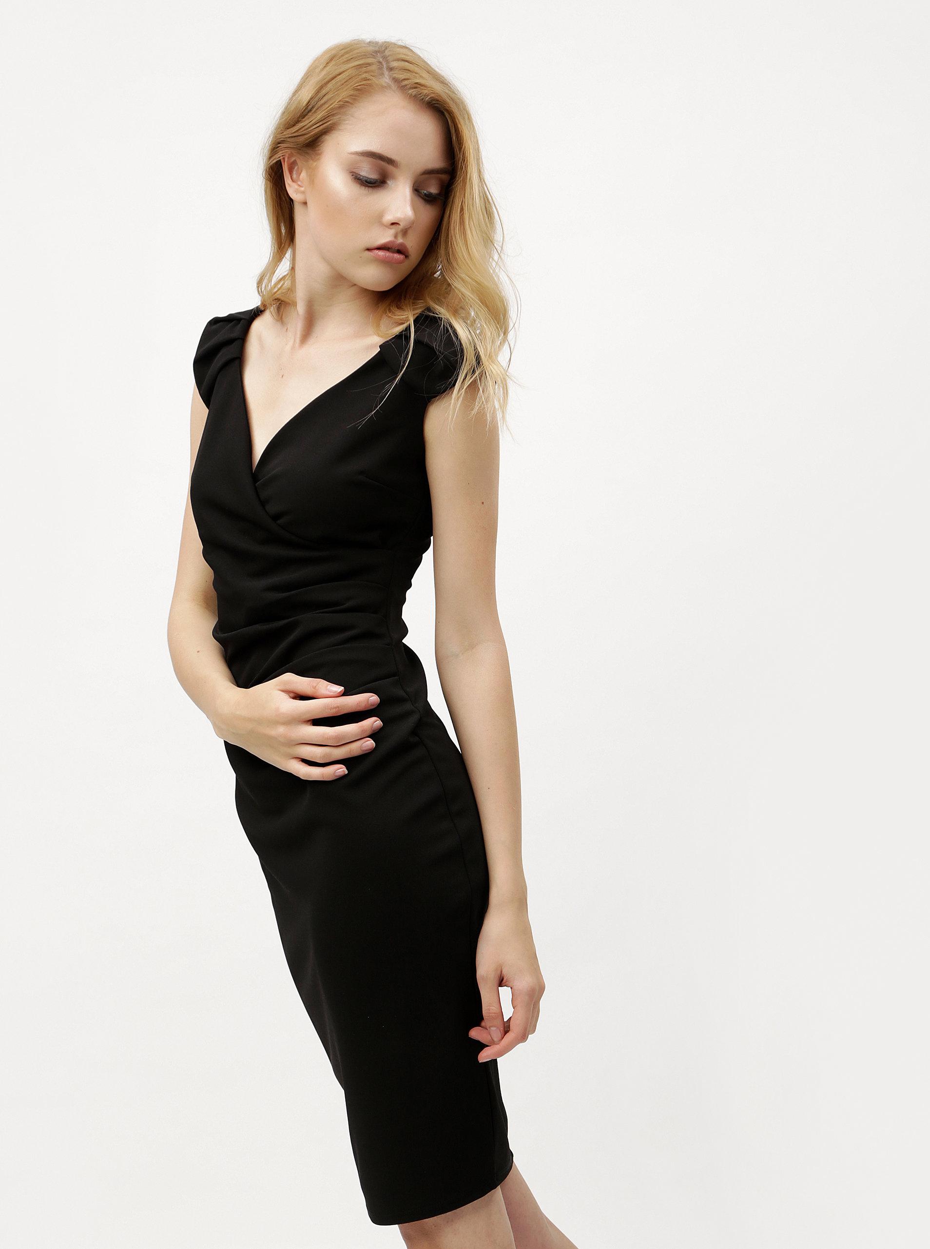 Čierne puzdrové šaty s prekladaným výstrihom ZOOT ... d4ecefadb1d