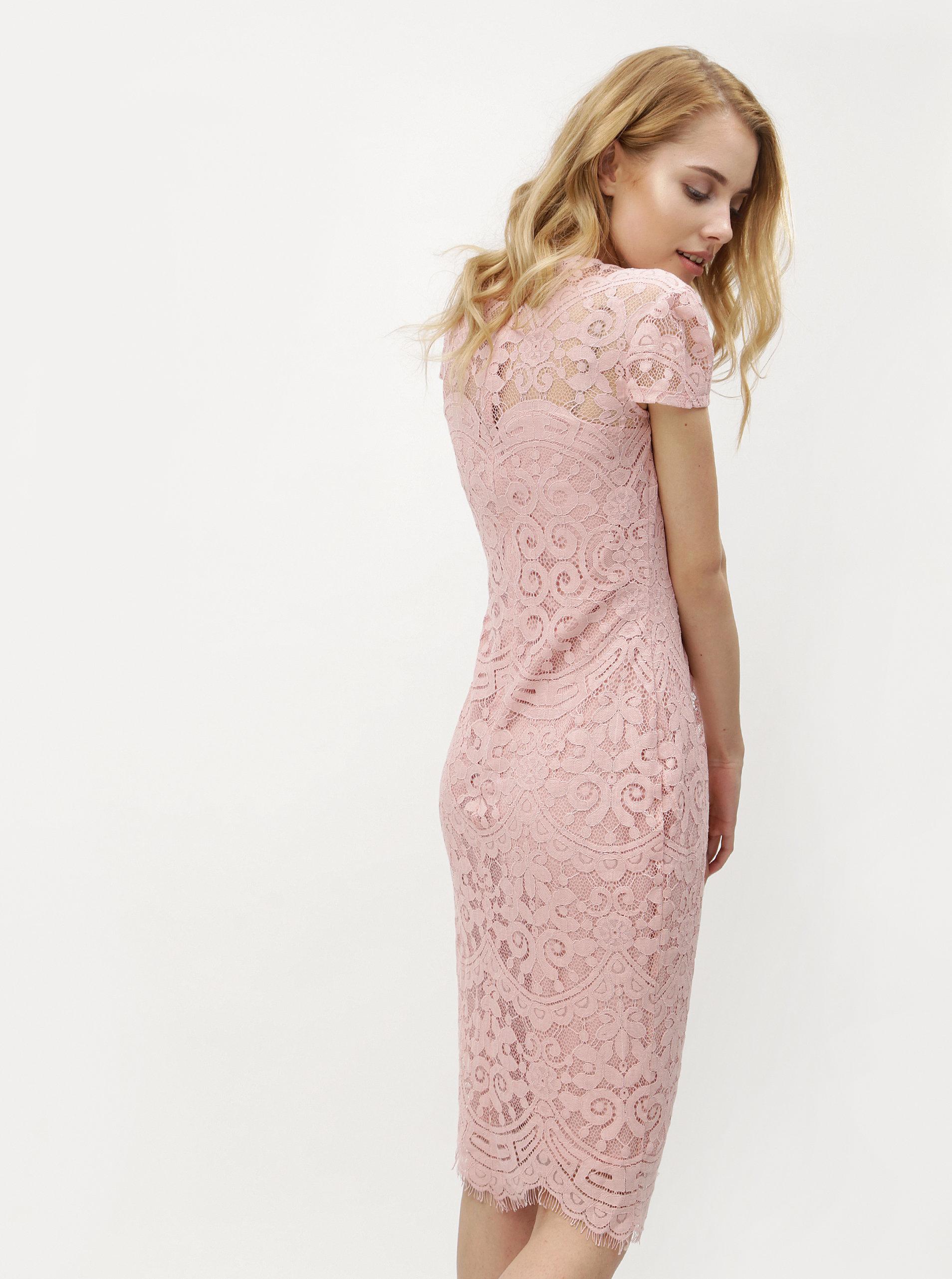5ca11187f91c Svetloružové čipkované šaty ZOOT ...