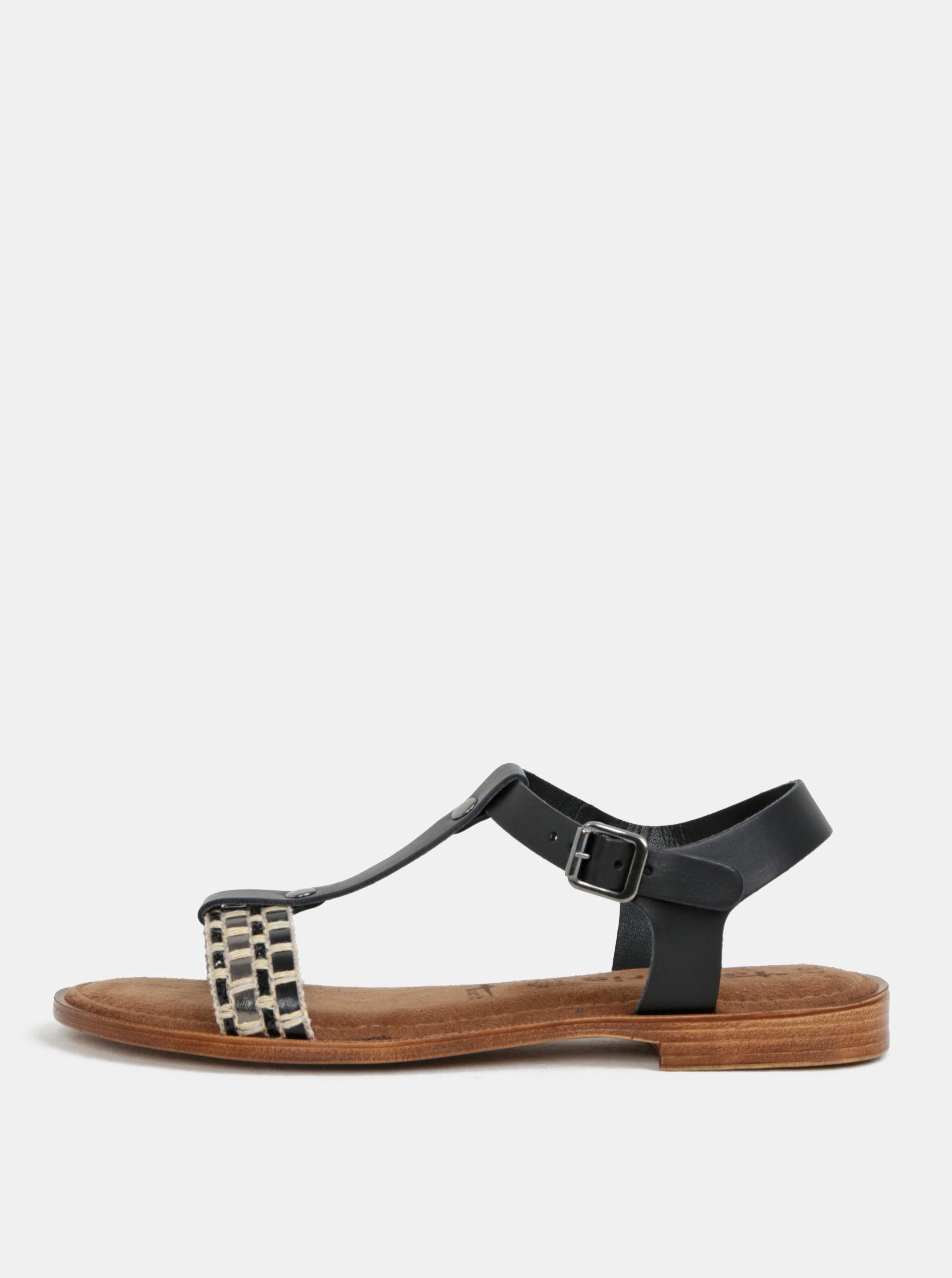 Krémovo-čierne kožené sandále Tamaris ... b967a4bb6a8
