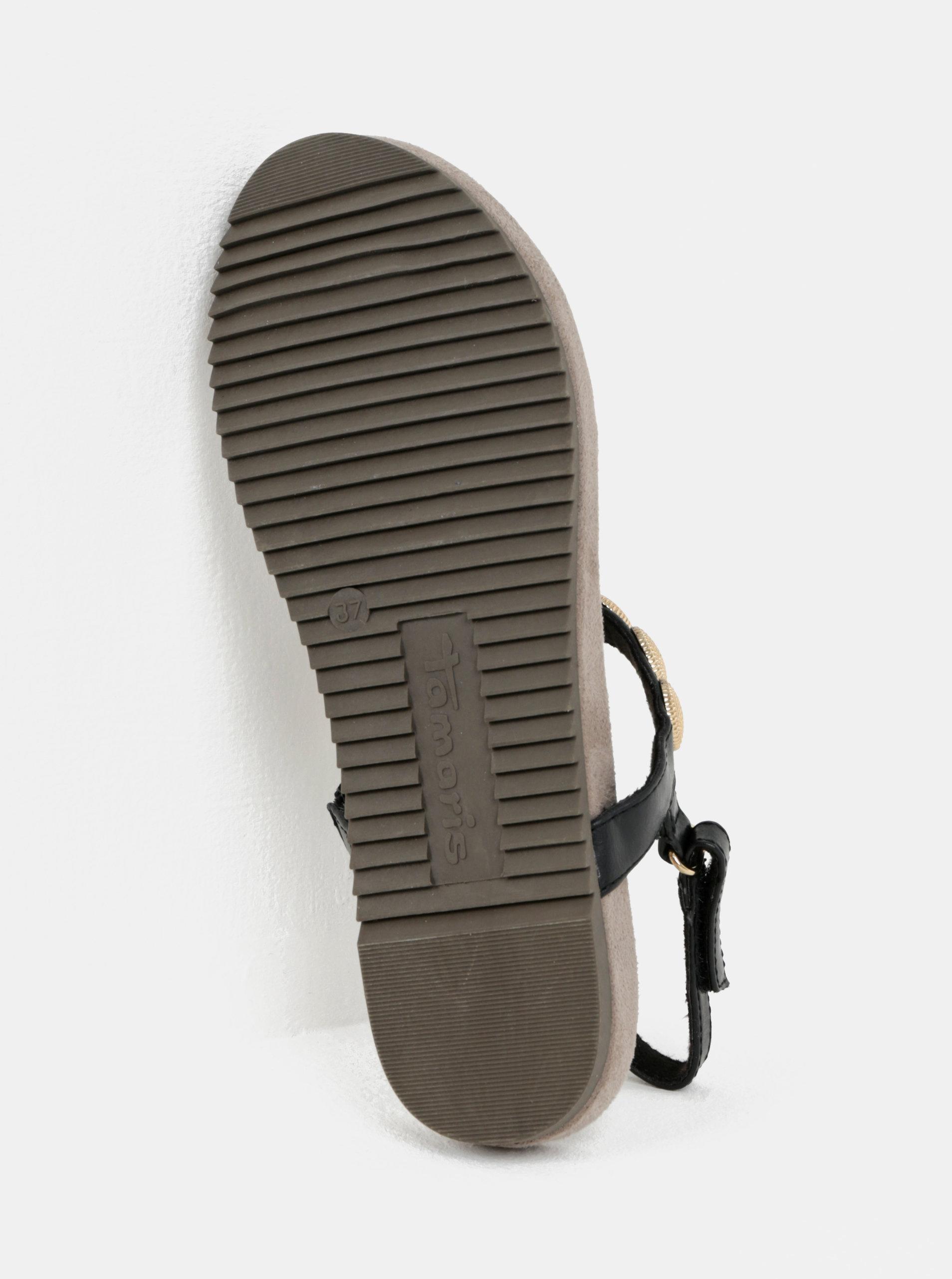 ba5b2ff0dcae Čierne sandále s aplikáciou v zlatej farbe Tamaris ...