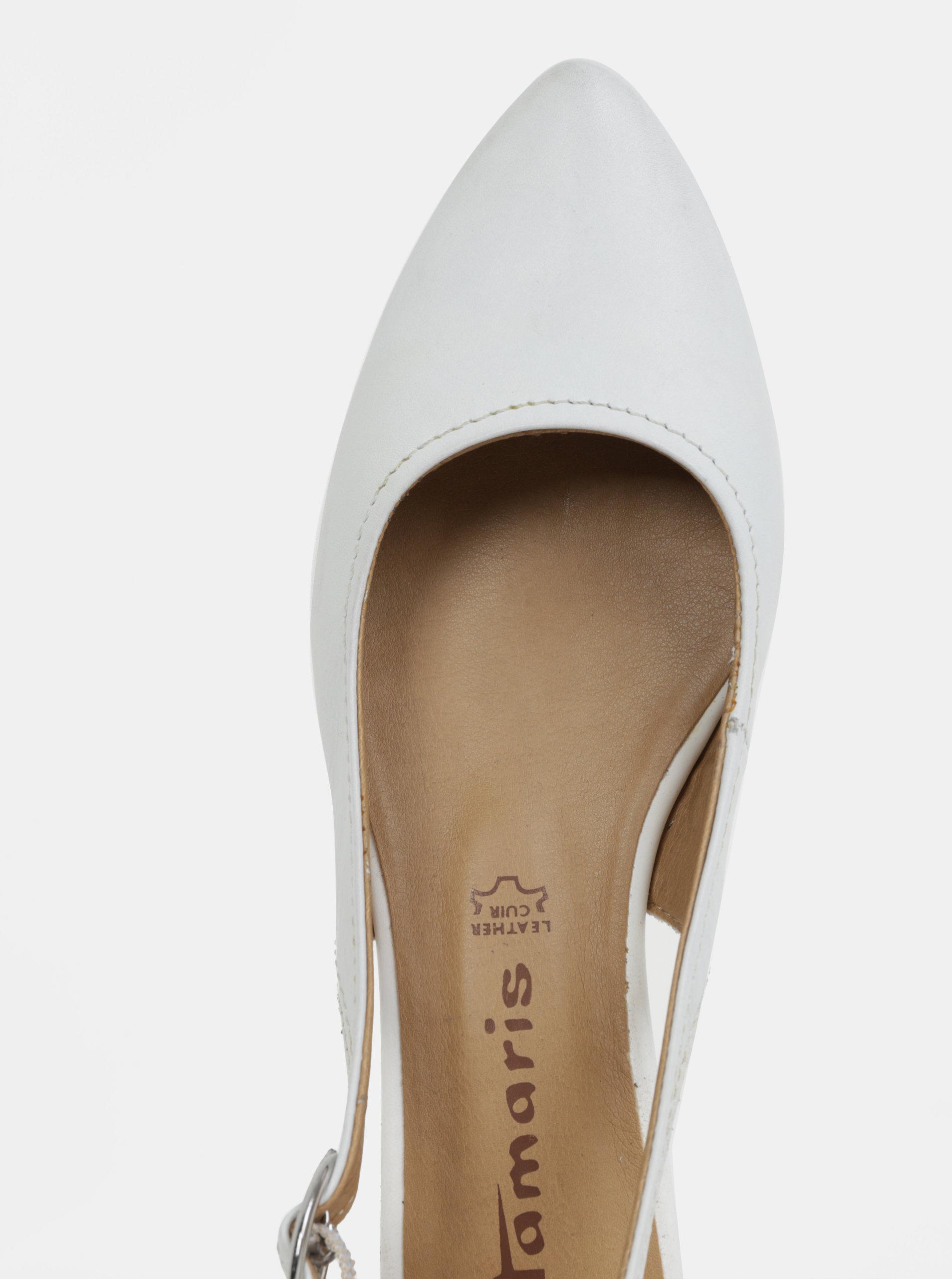 5109ac0132a3 Biele kožené sandálky s otvorenou pätou Tamaris ...