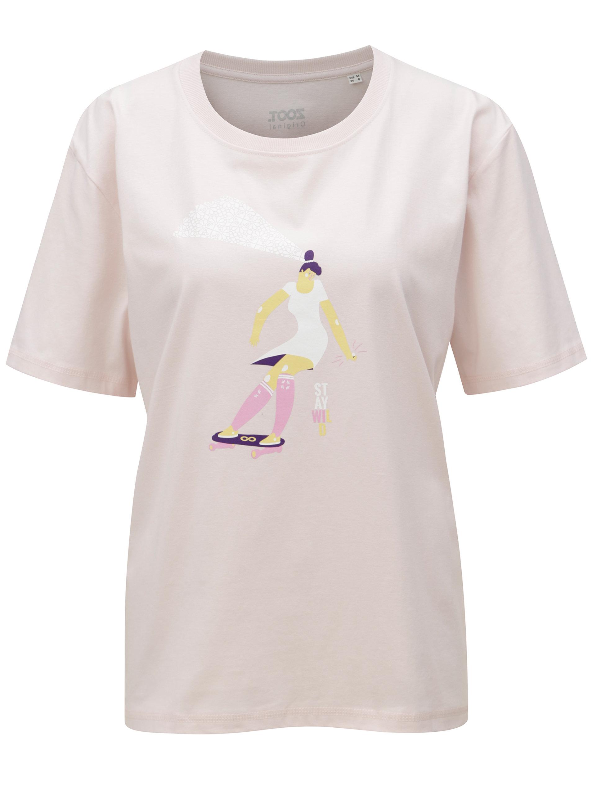 30e0011c496b Světle růžové dámské tričko s potiskem ZOOT Stay wild ...
