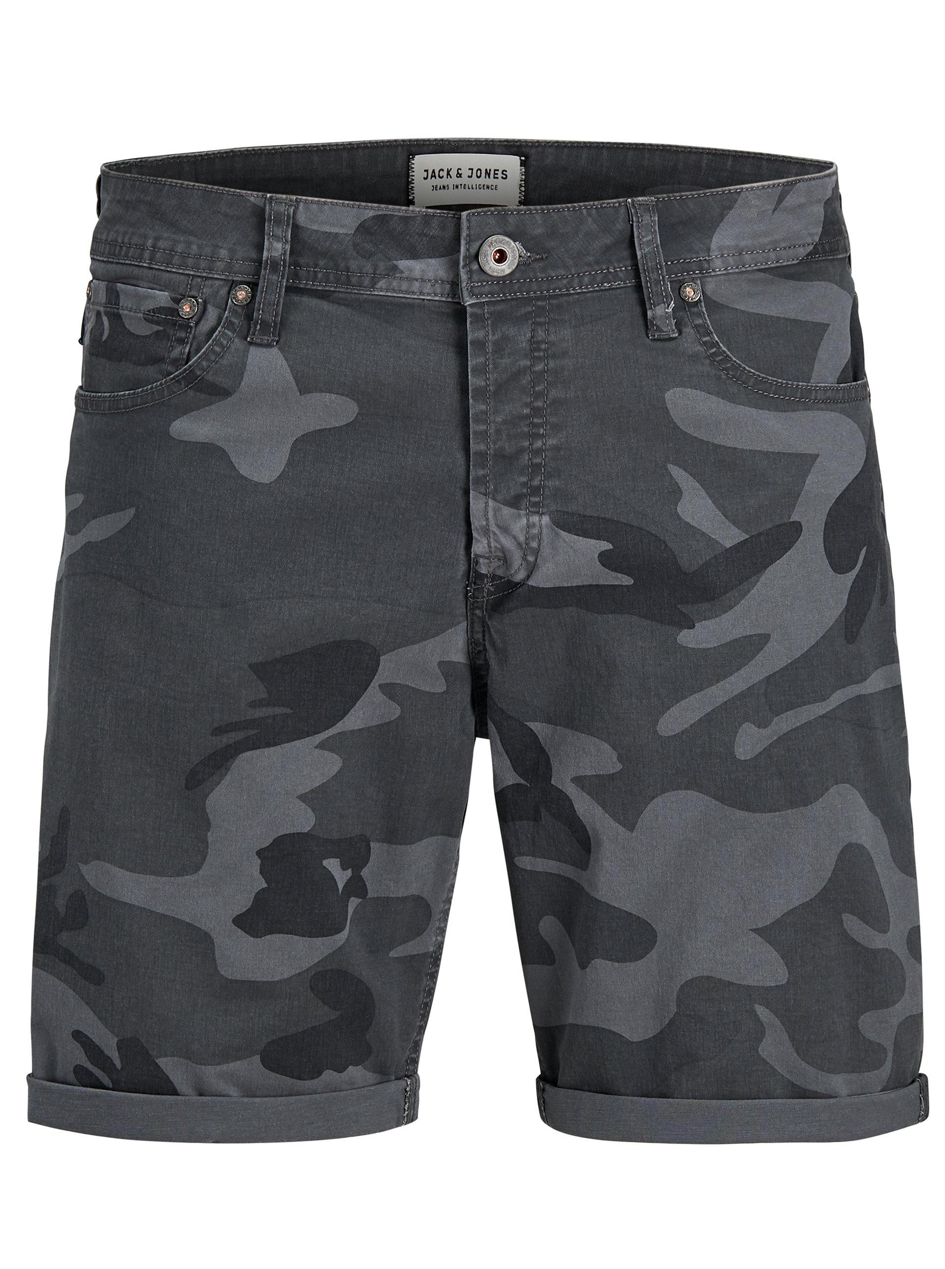 bac96e77c57 Tmavě šedé comfort fit kraťasy s army vzorem Jack   Jones Rick ...