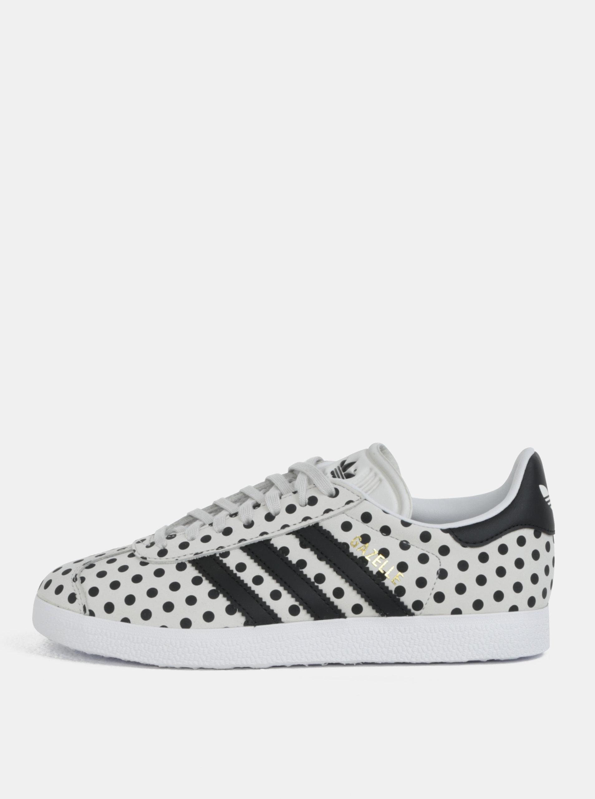 Sivé dámske bodkované kožené tenisky adidas Originals Gazelle ... 7ecc07625a7